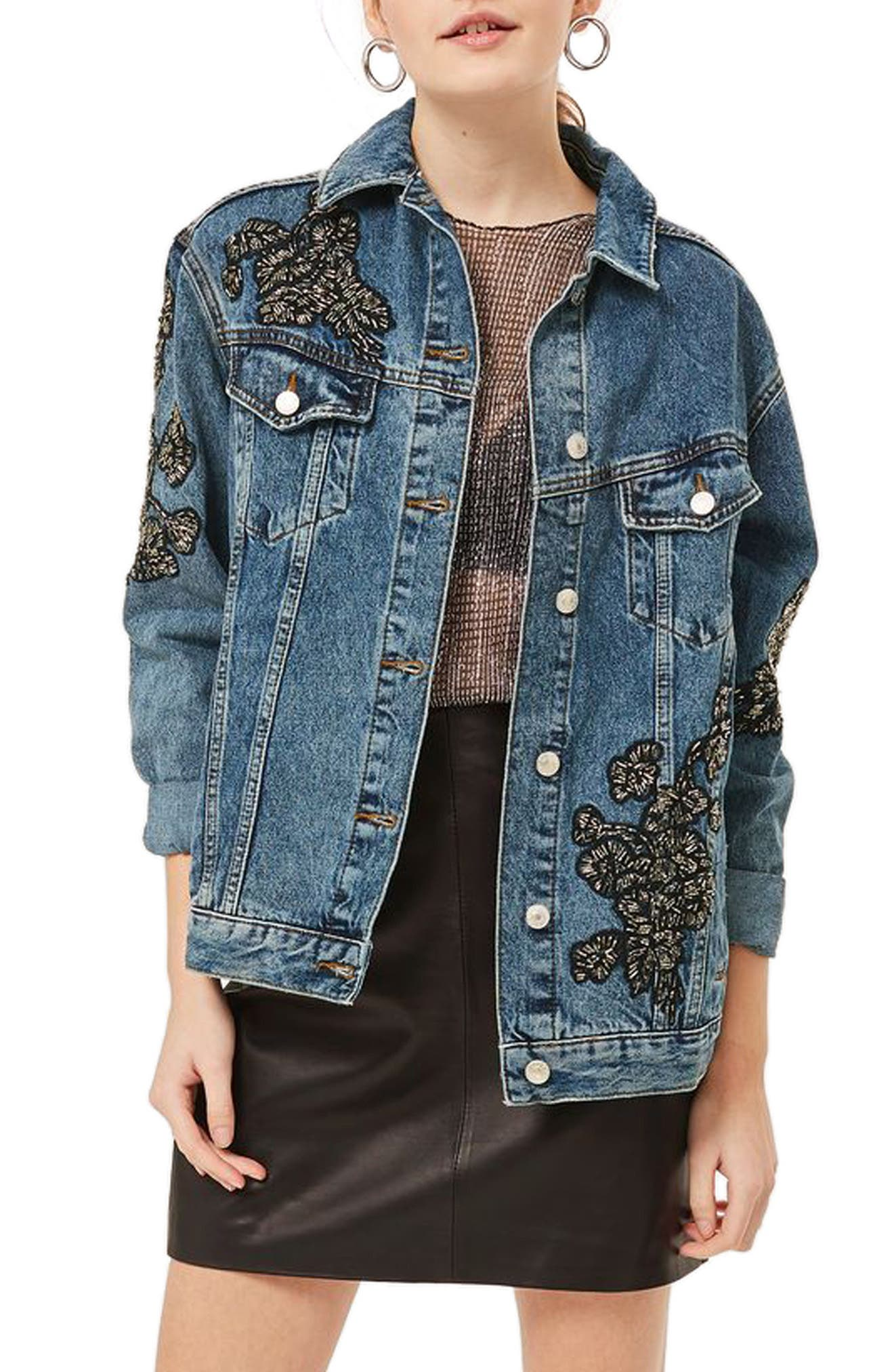 Embellished Denim Jacket,                             Main thumbnail 1, color,                             Mid Denim