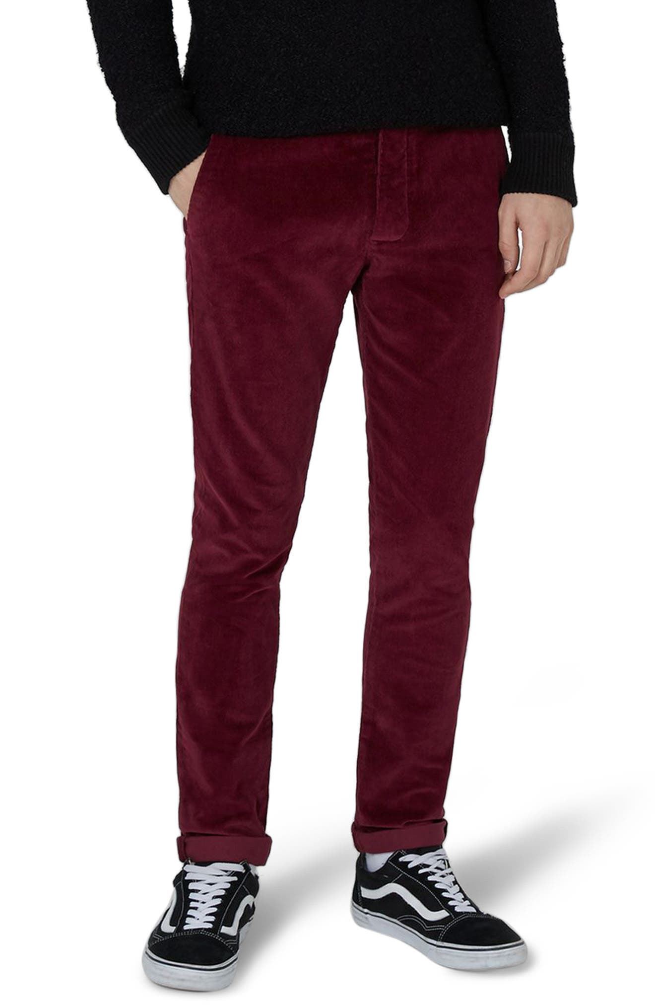 Skinny Fit Corduroy Trousers,                             Main thumbnail 1, color,                             Burgundy
