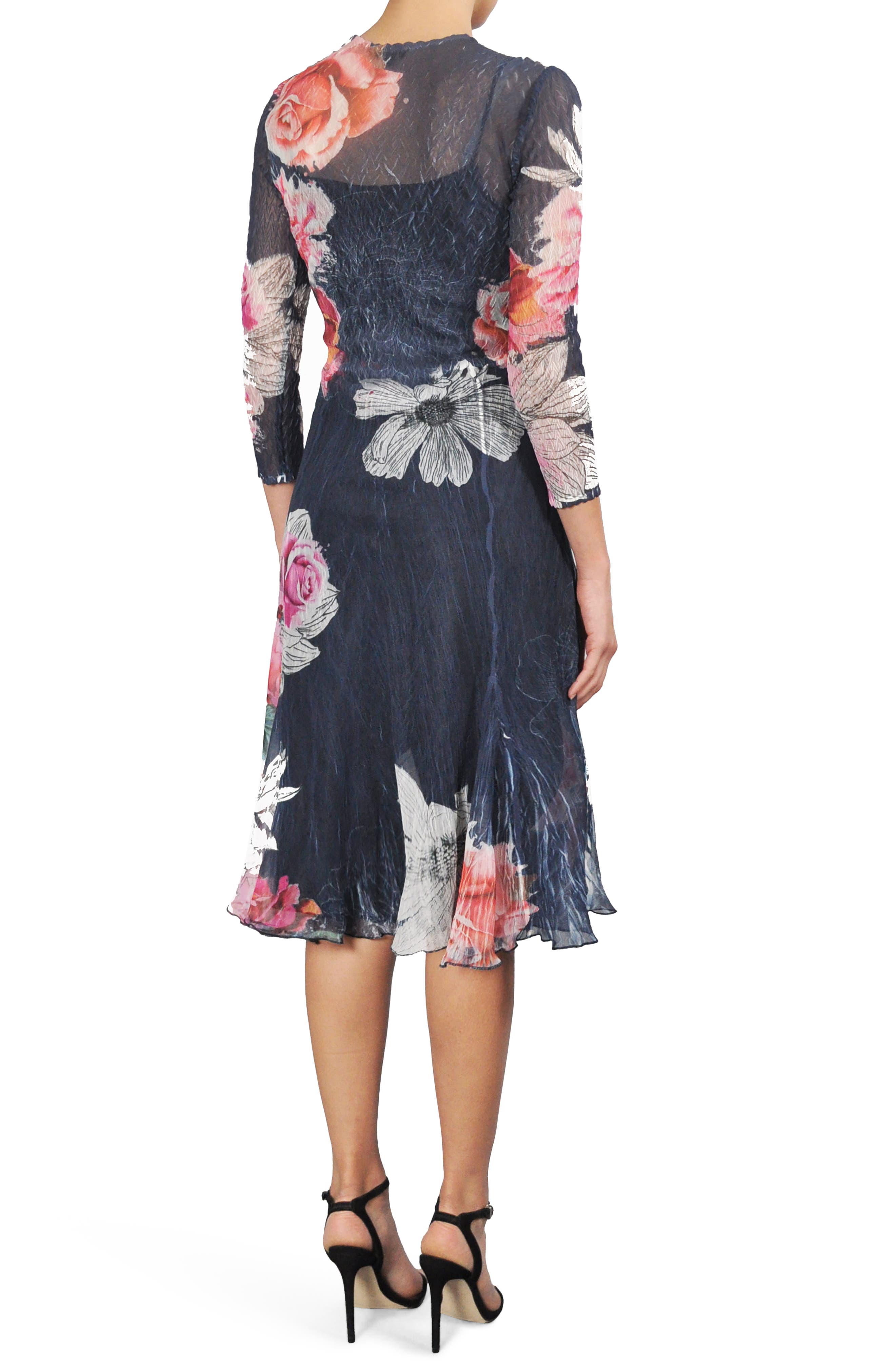Floral Print Chiffon A-Line Dress,                             Alternate thumbnail 2, color,                             Watercolor Fields