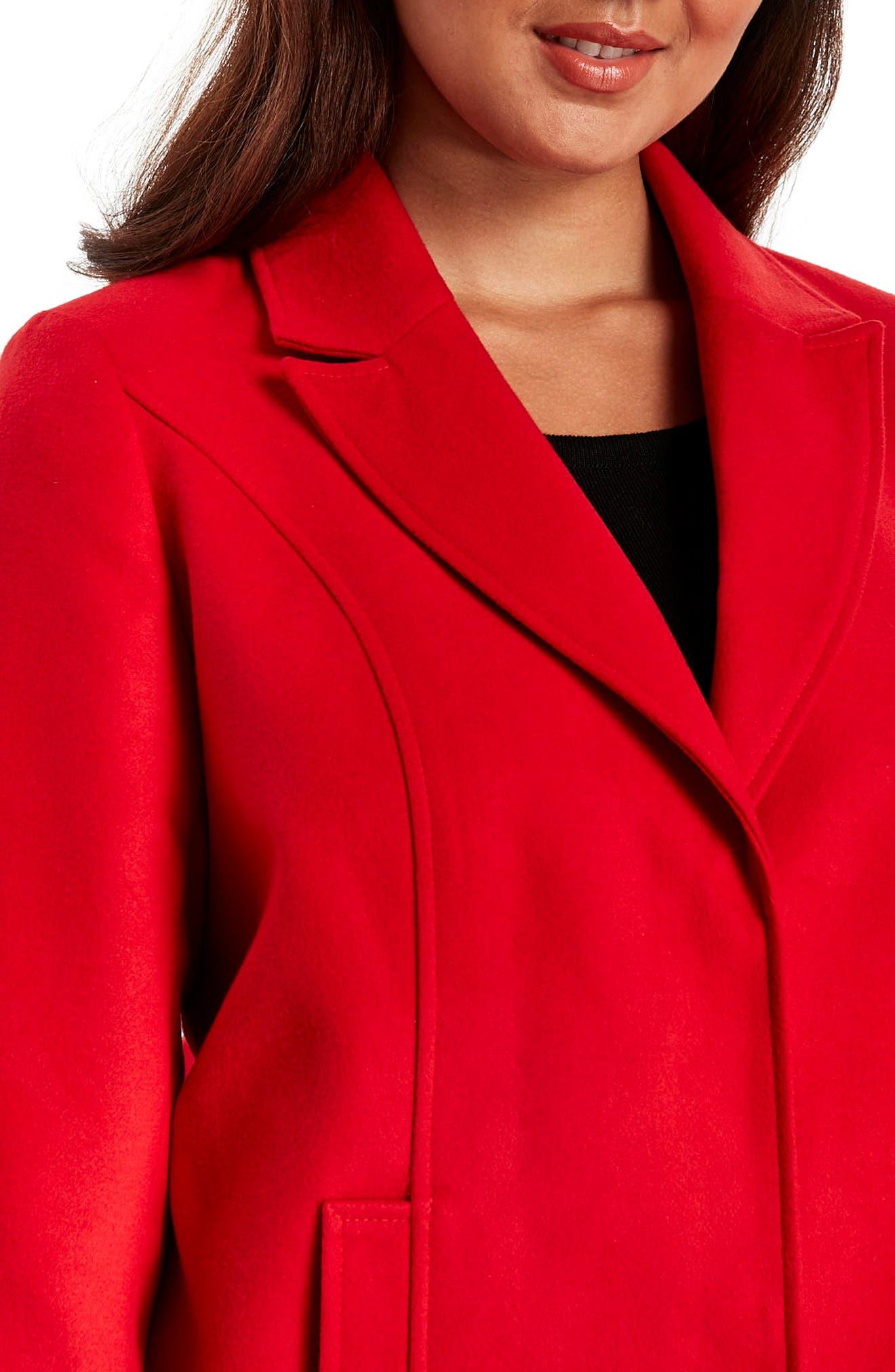 Longline Coat,                             Alternate thumbnail 3, color,                             Red