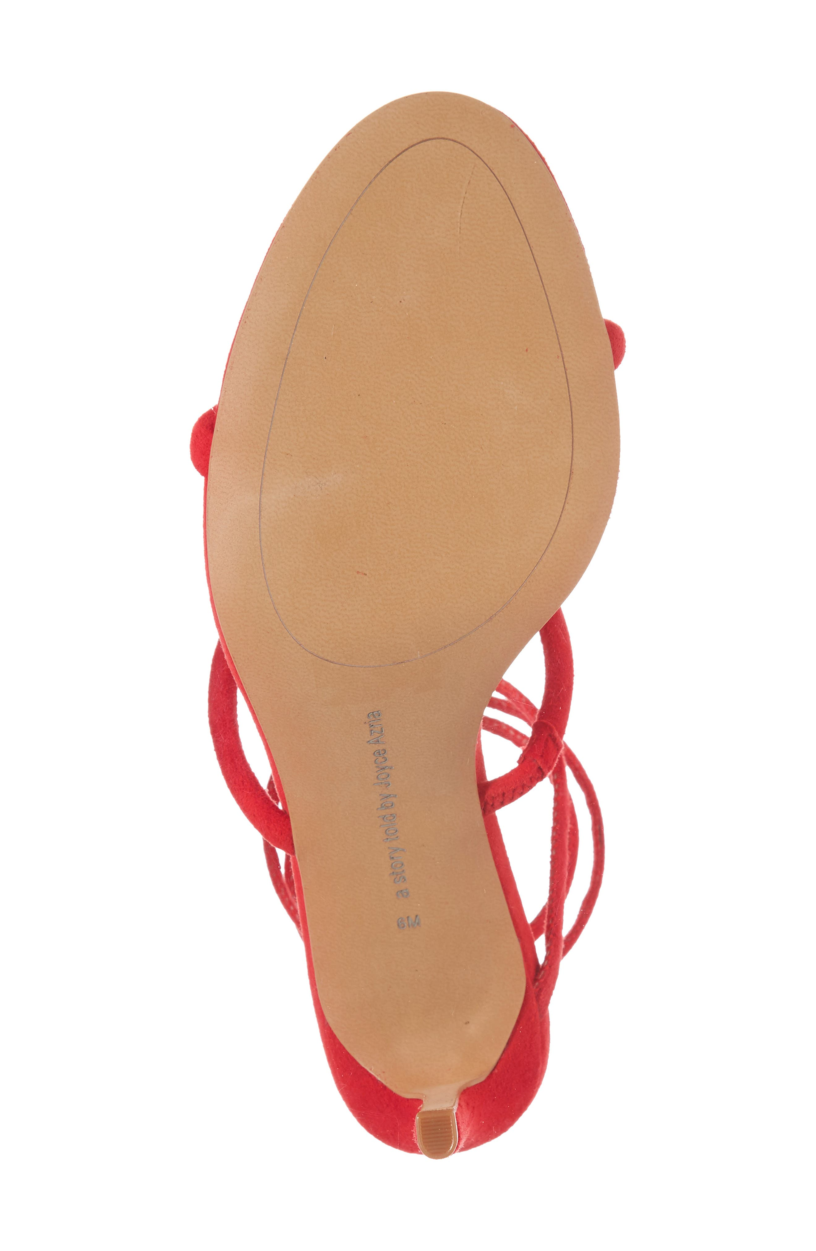 Joia Ankle Wrap Sandal,                             Alternate thumbnail 5, color,                             Rouge Suede