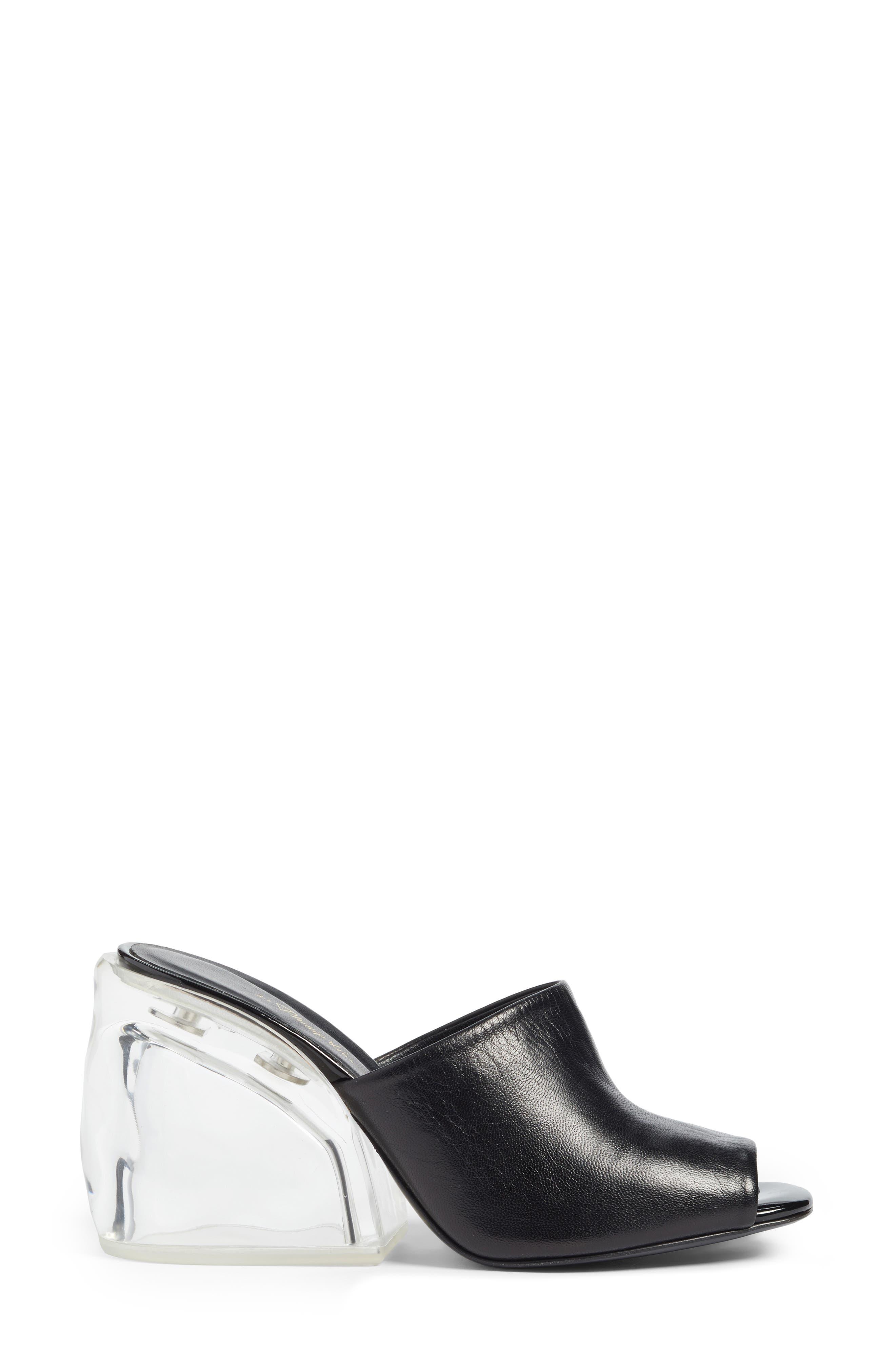 Transparent Wedge Slide Sandal,                             Alternate thumbnail 3, color,                             Black