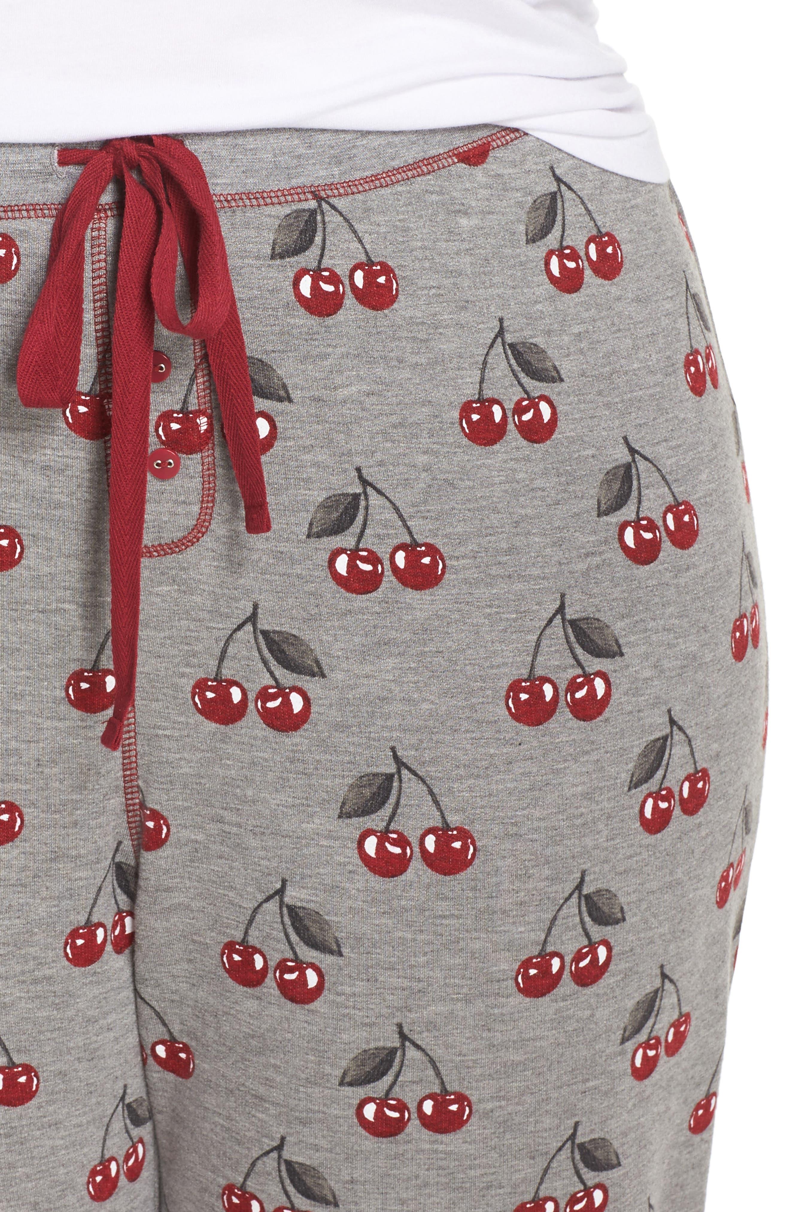 Cherry Pajama Pants,                             Alternate thumbnail 6, color,                             Heather Grey