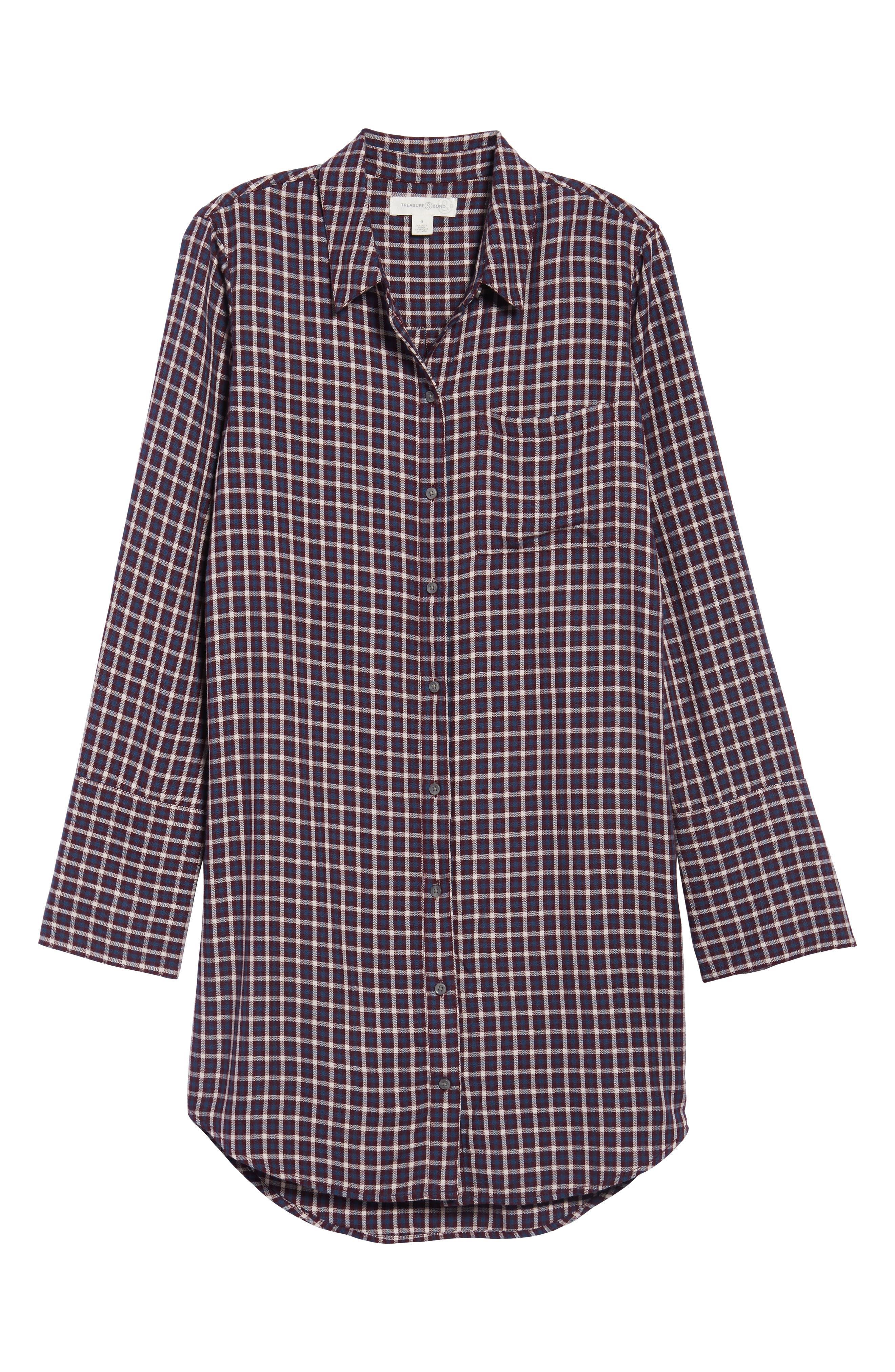 Plaid Shirtdress,                             Alternate thumbnail 6, color,                             Burgundy Fig Hound Gingham