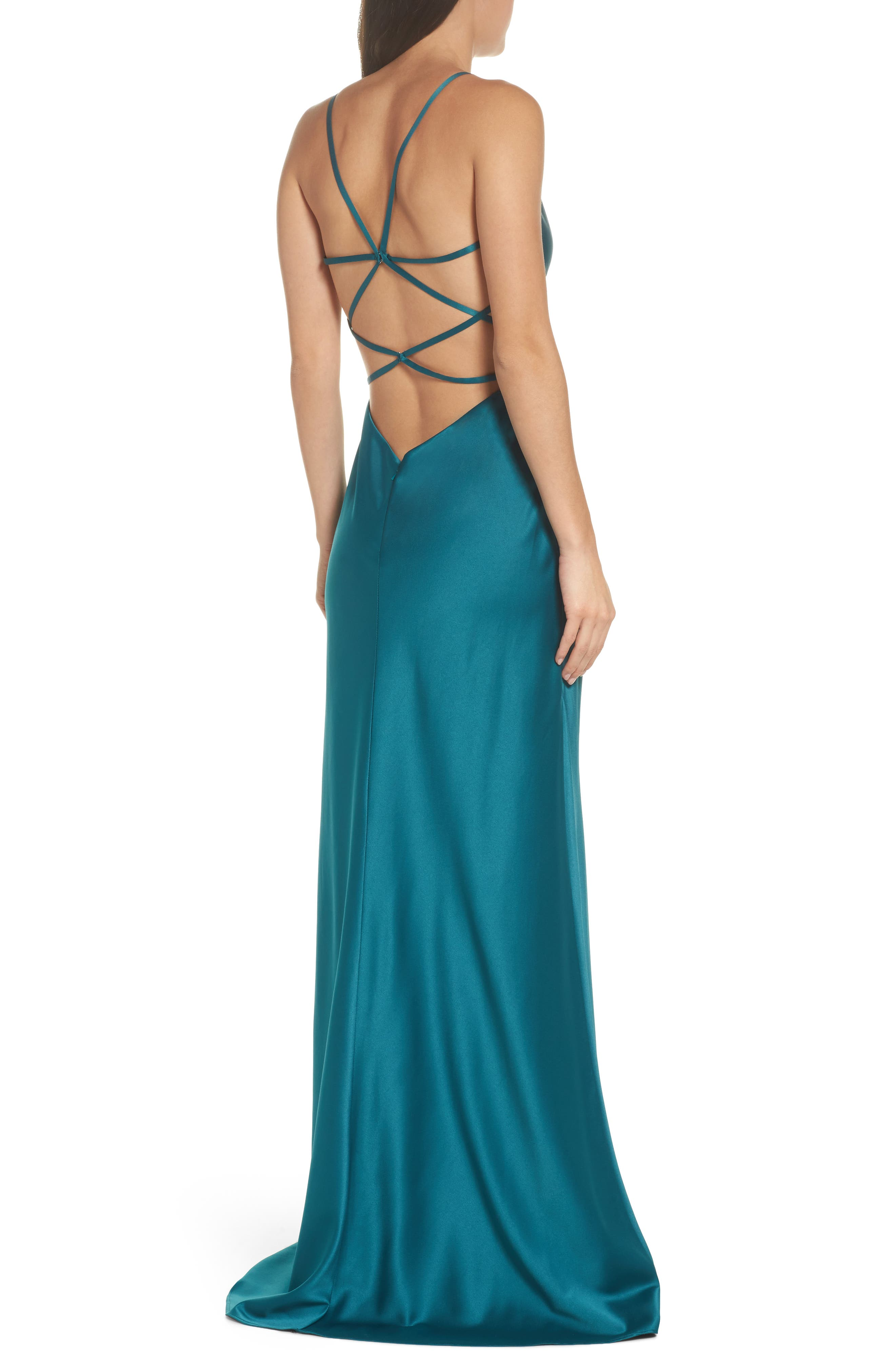 Strappy Ruched Bodice Gown,                             Alternate thumbnail 2, color,                             Forest Green