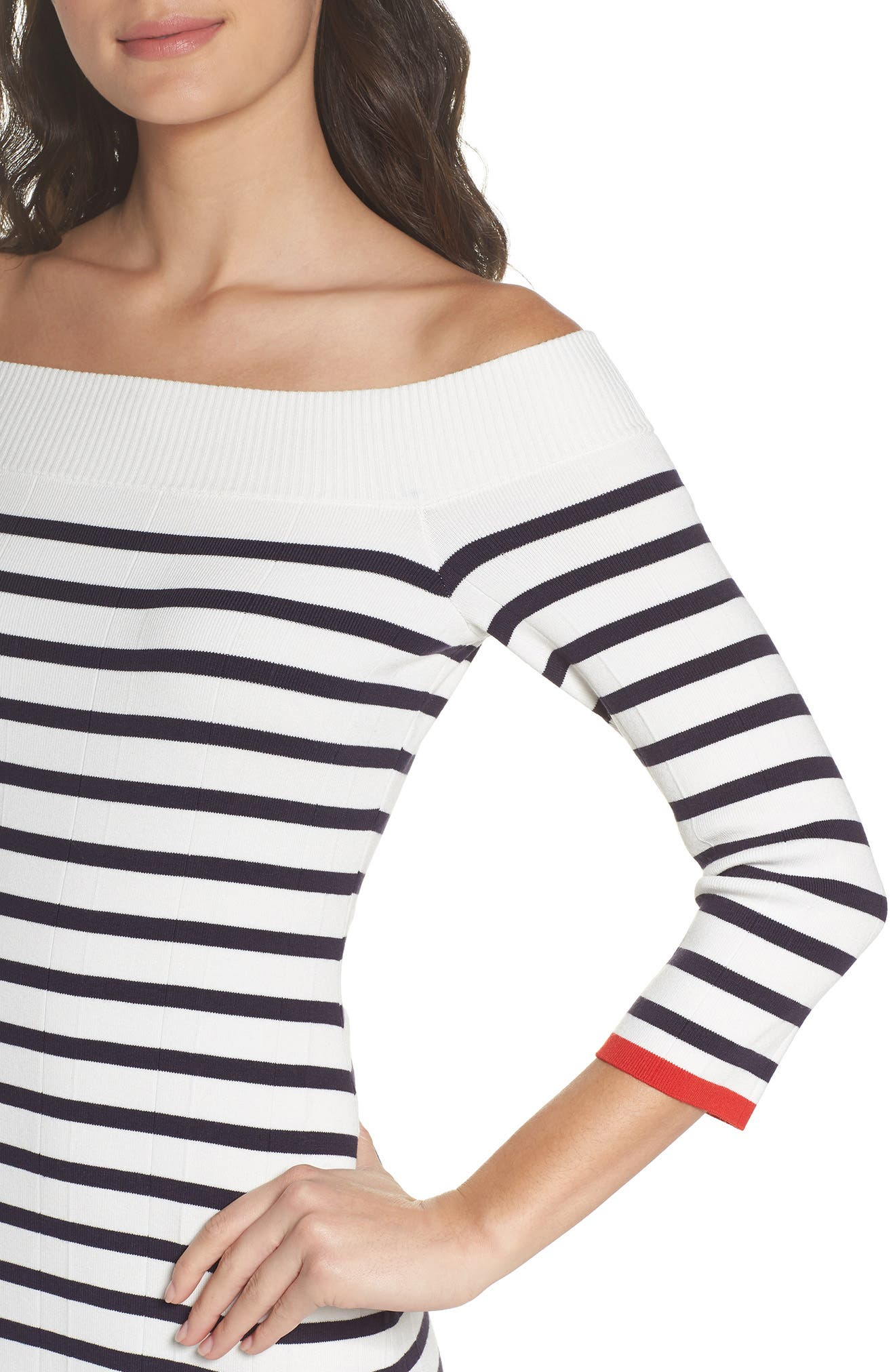 Off the Shoulder Sweater Dress,                             Alternate thumbnail 4, color,                             White Stripe Combo