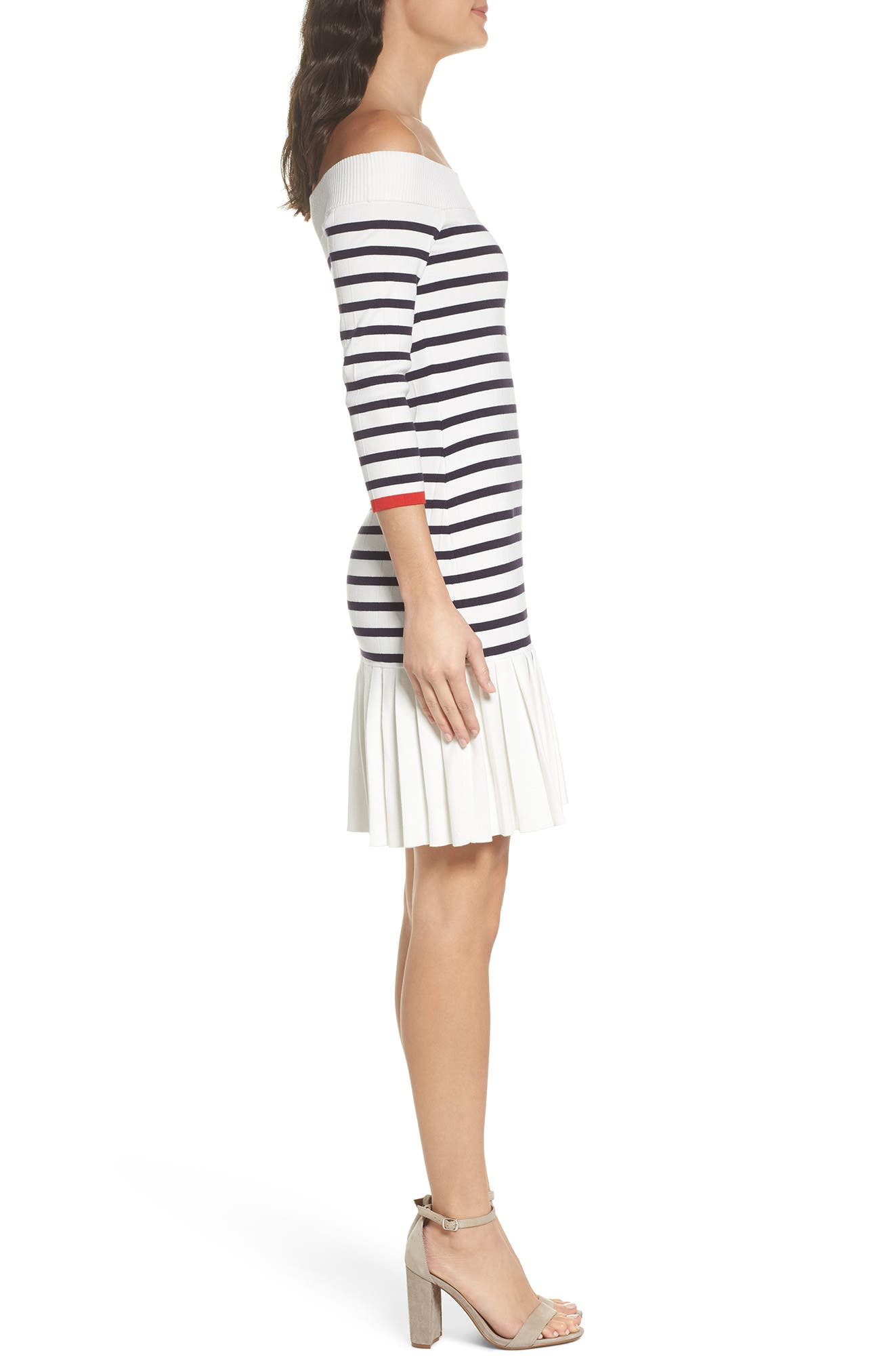 Off the Shoulder Sweater Dress,                             Alternate thumbnail 3, color,                             White Stripe Combo