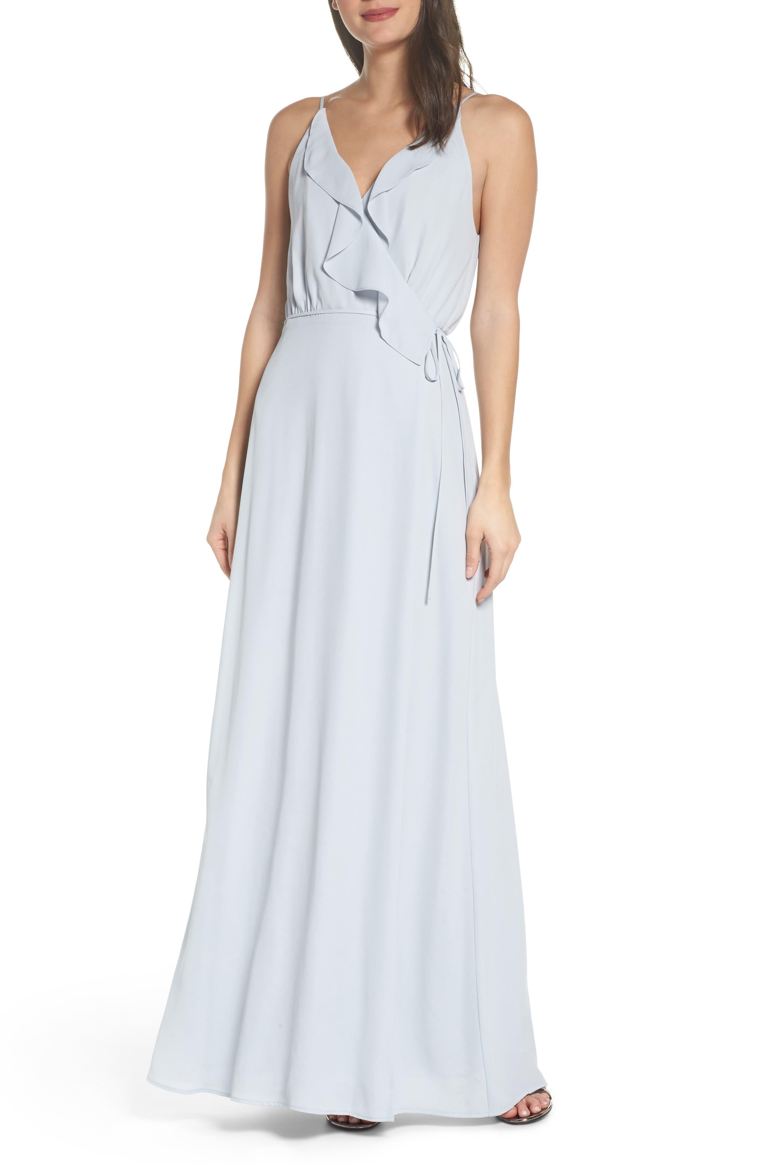 Jamie Ruffle Wrap Gown,                             Main thumbnail 1, color,                             Ocean Mist