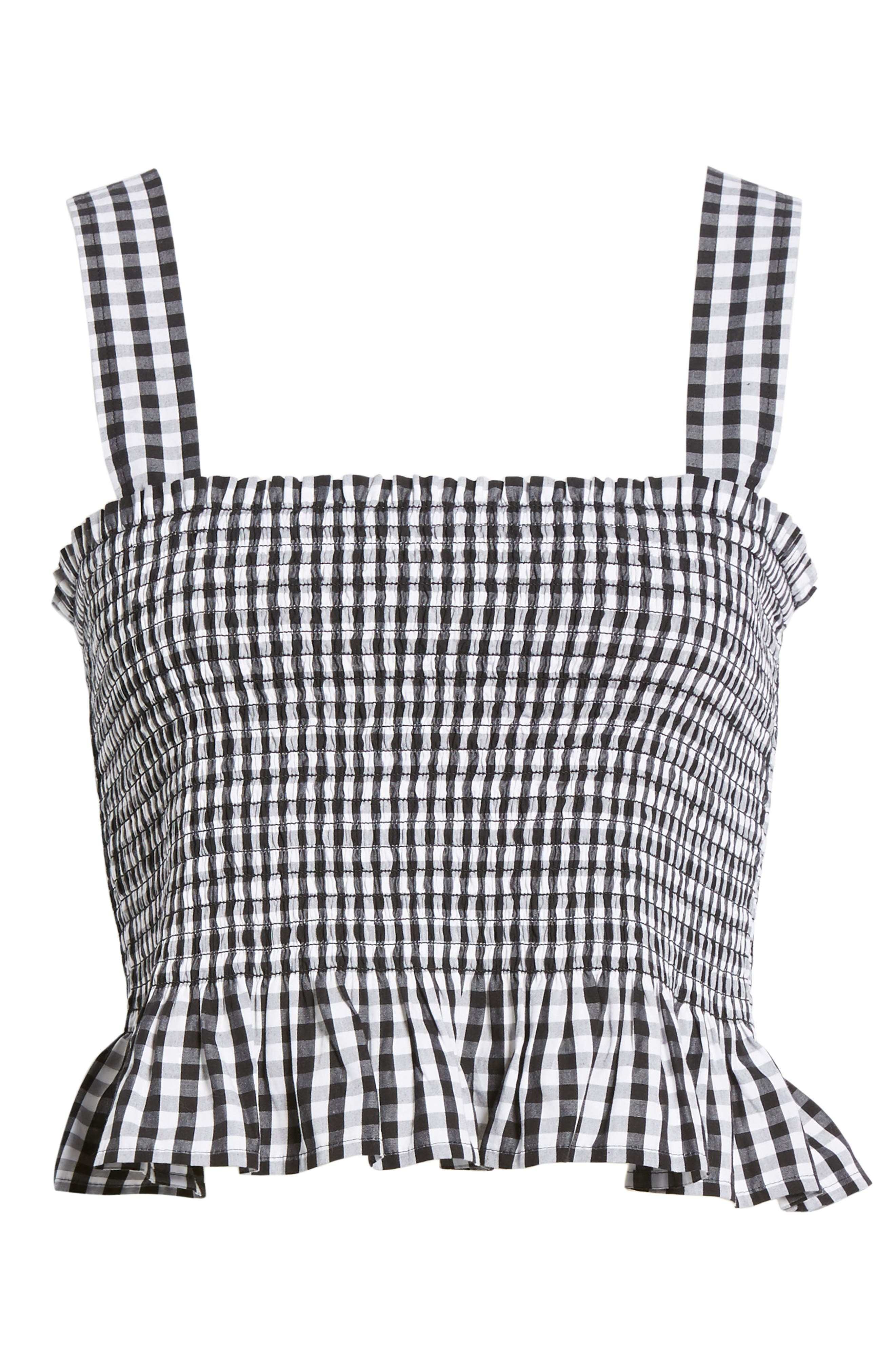 Smocked Gingham Crop Tank,                             Alternate thumbnail 6, color,                             Black Lexi Gingham