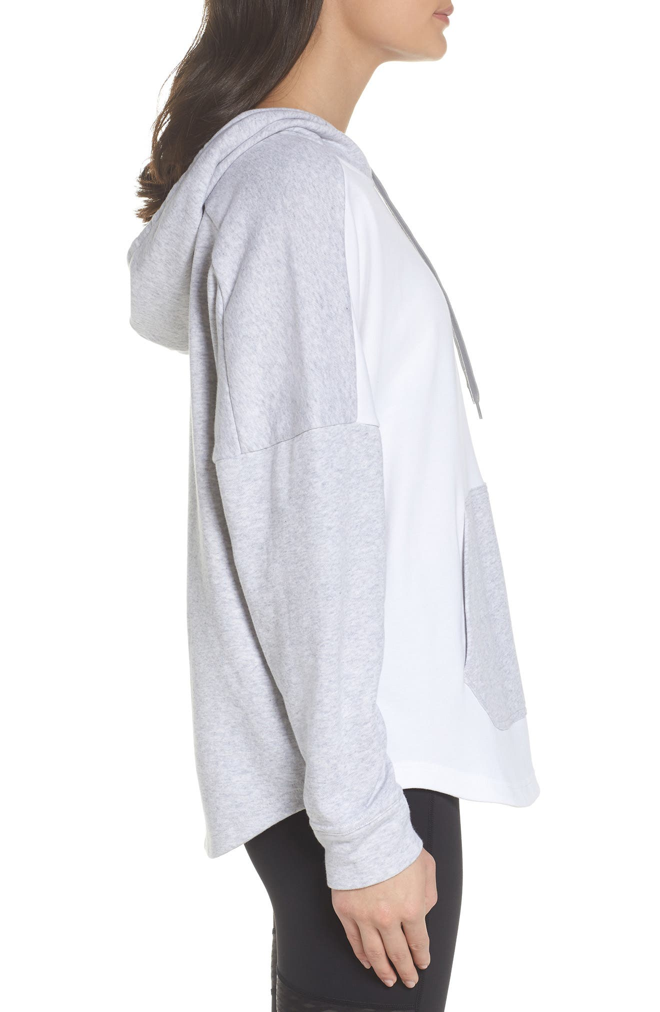 French Terry Tunic Hoodie,                             Alternate thumbnail 3, color,                             Light Grey Heather