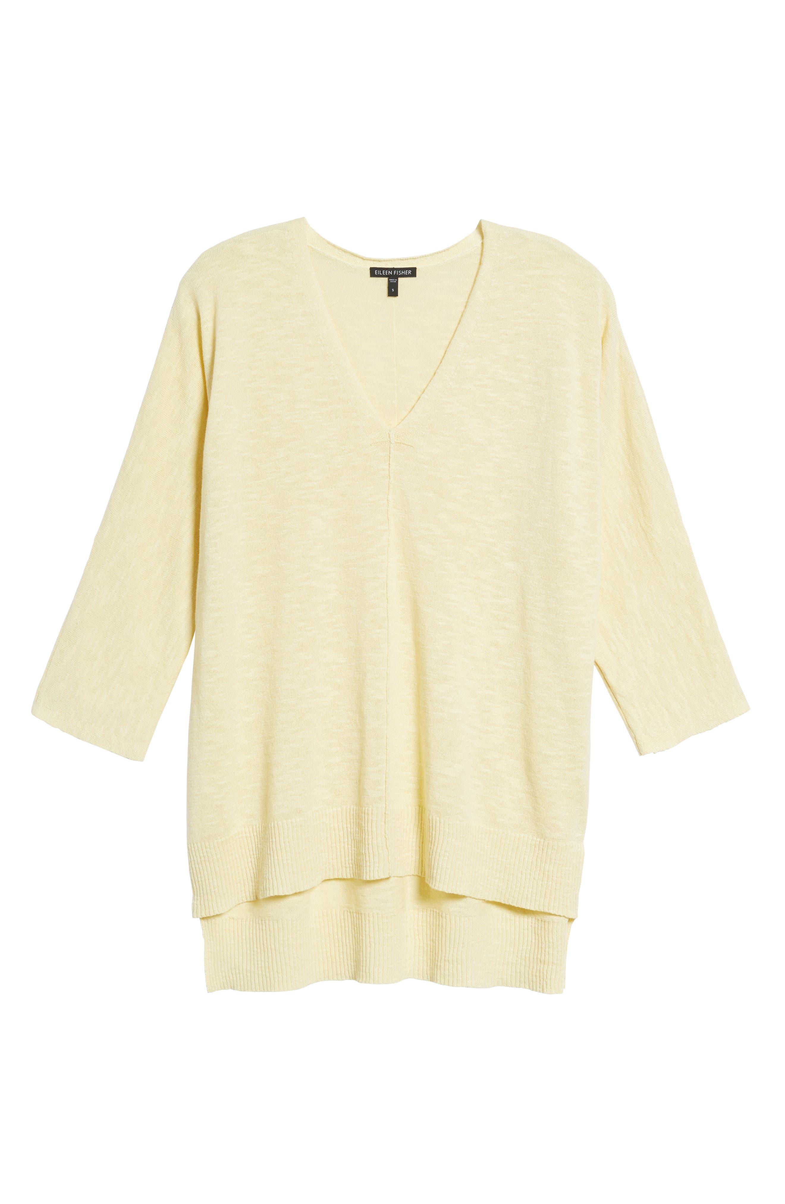 Organic Linen & Cotton Sweater,                             Alternate thumbnail 6, color,                             Flaxen