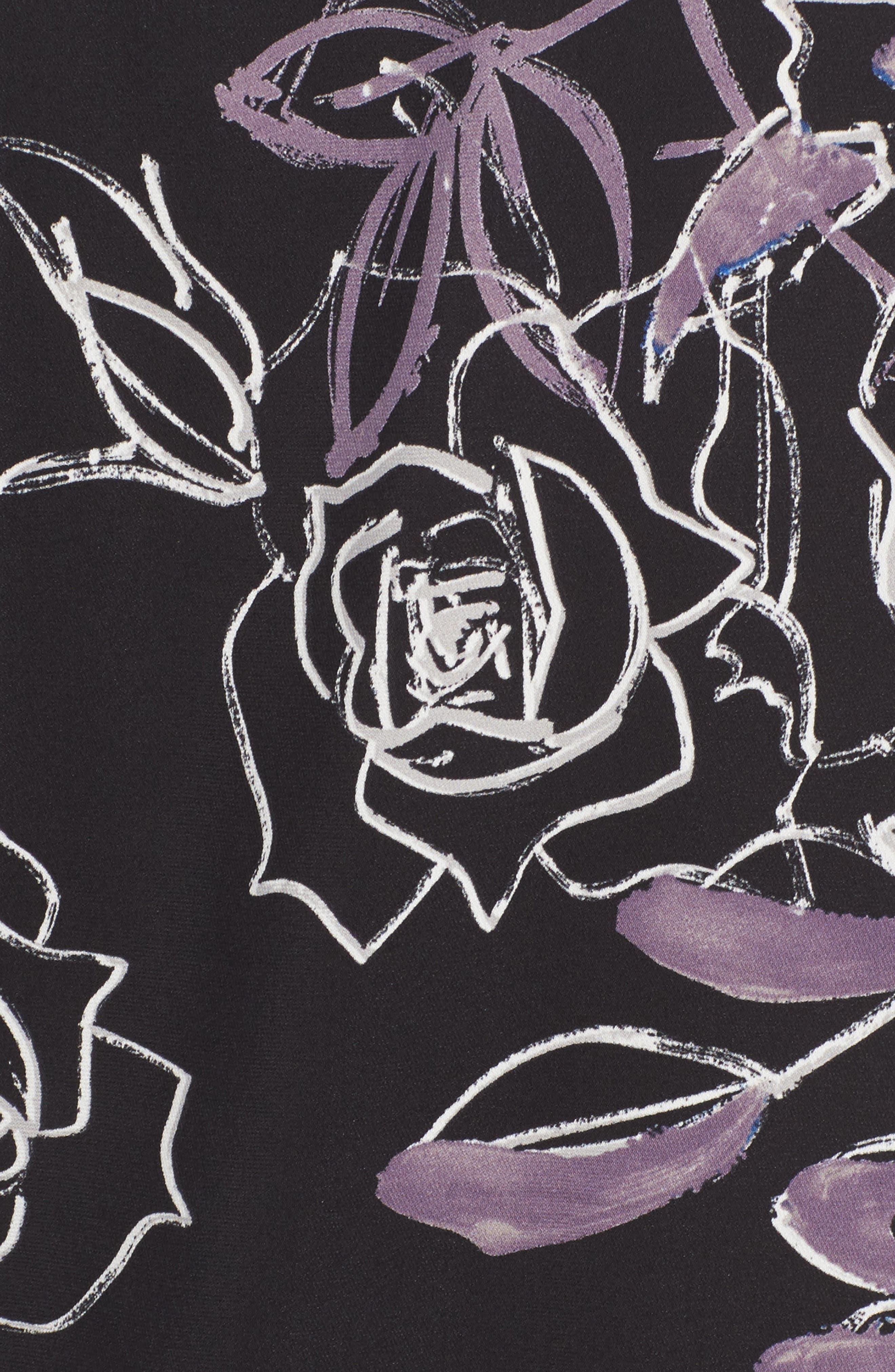 Long Sleeve Print Blouse,                             Alternate thumbnail 5, color,                             Black Roses Print