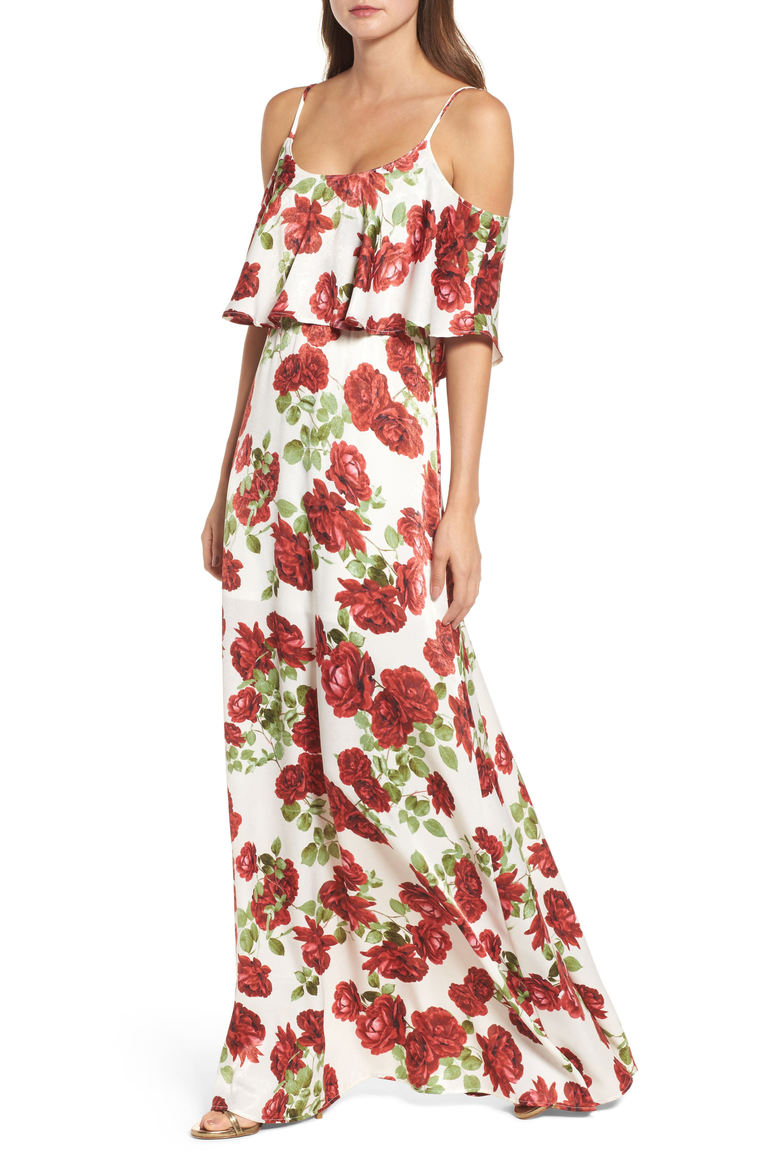 Caitlin Cold Shoulder Chiffon Gown,                             Main thumbnail 1, color,                             Budding Romance Ivory
