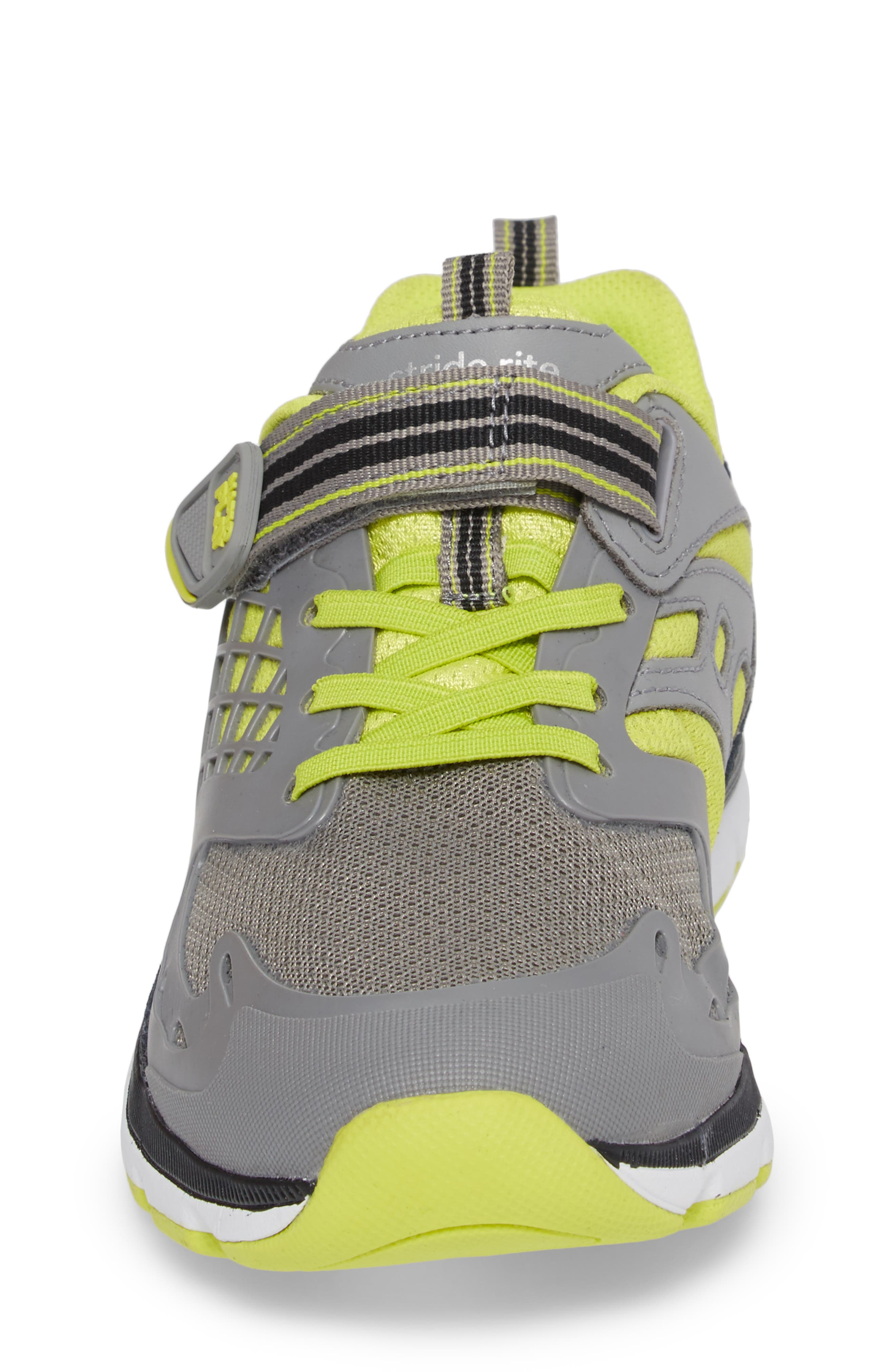 Made 2 Play Breccen Sneaker,                             Alternate thumbnail 4, color,                             Grey/ Lime Leather/ Textile