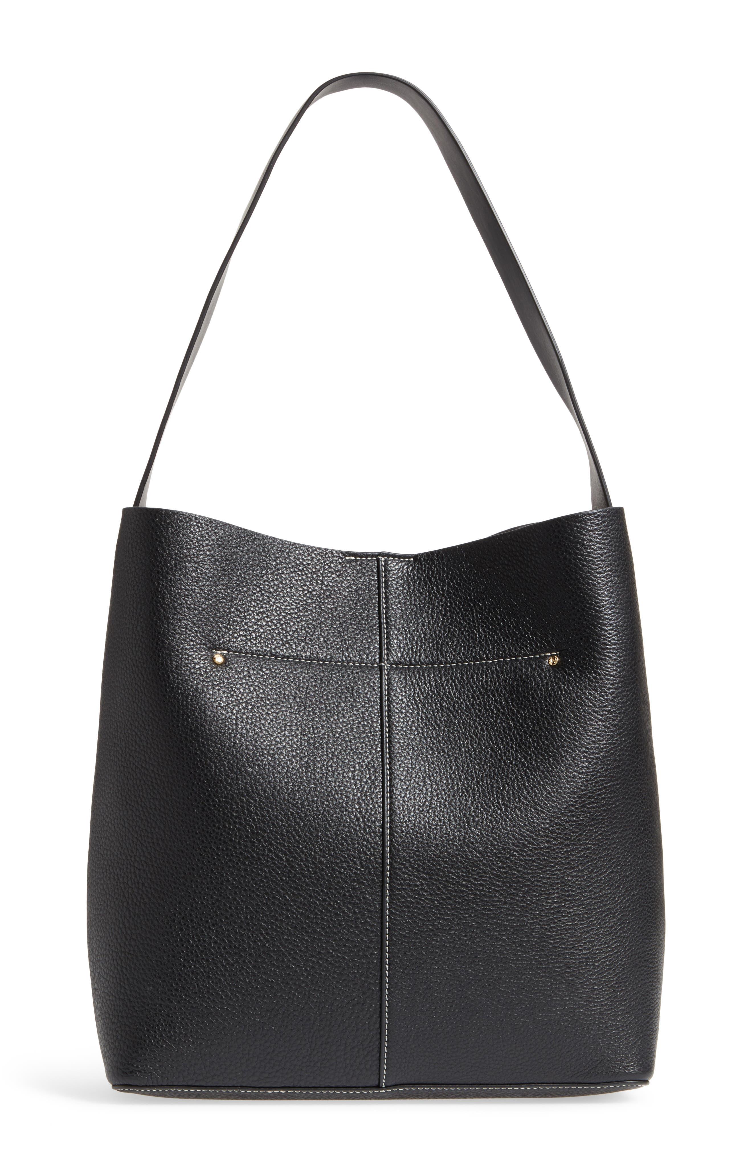 Large Leather Shoulder Bag,                             Alternate thumbnail 3, color,                             Black