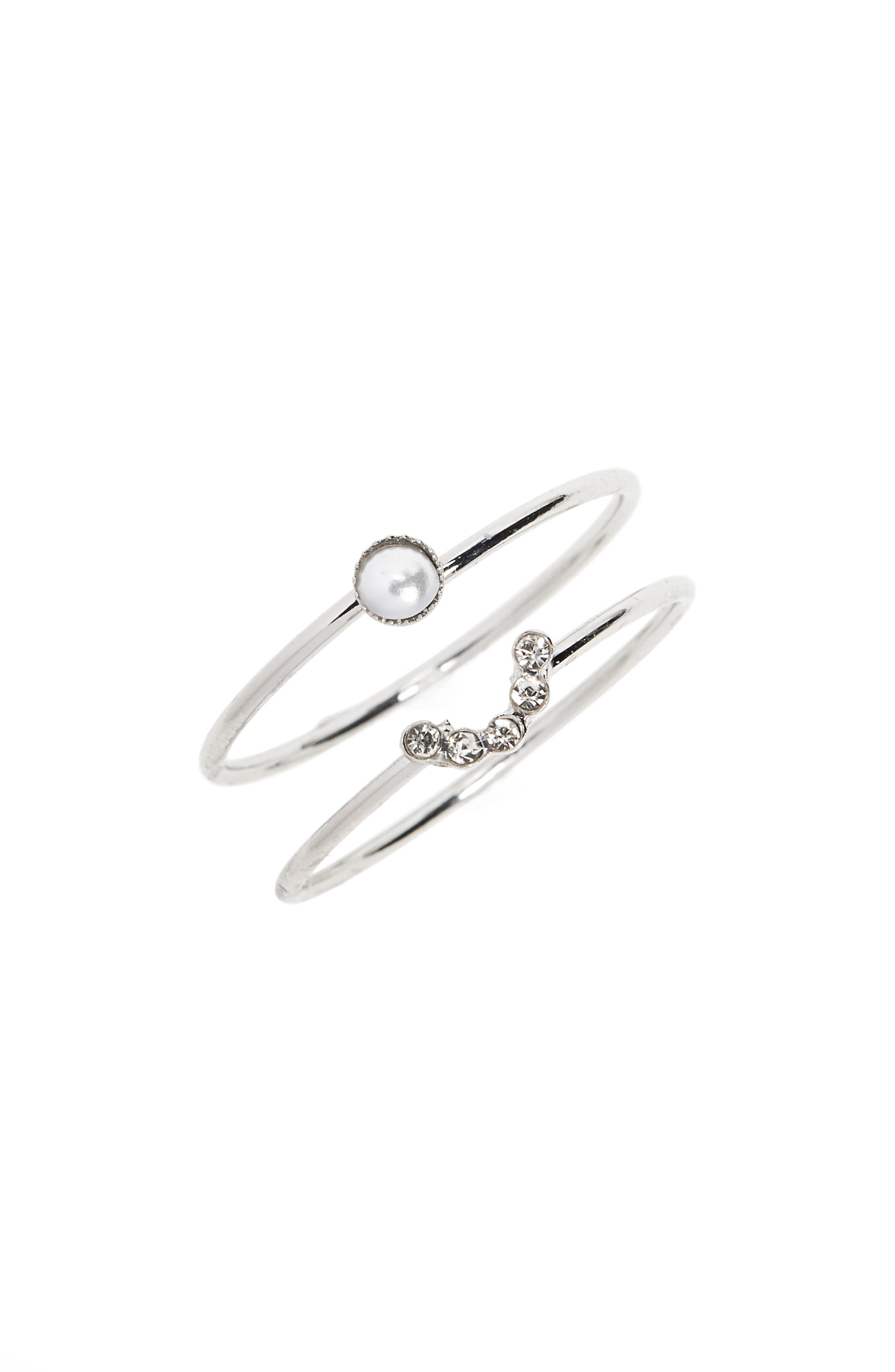 Topshop Fine Imitation Pearl Set of 2 Stacking Rings
