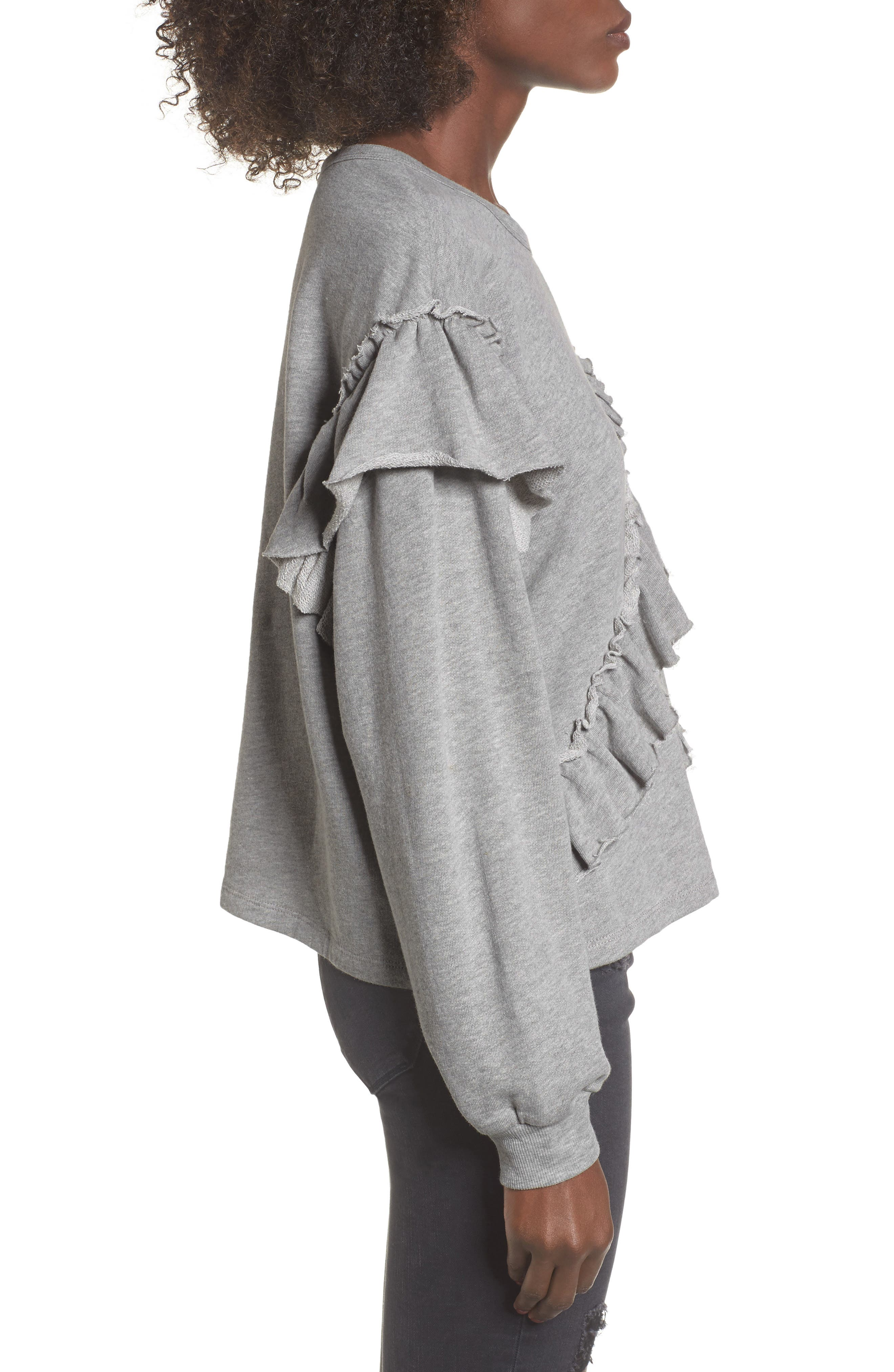 Asymmetric Ruffle Sweatshirt,                             Alternate thumbnail 3, color,                             Heather Grey