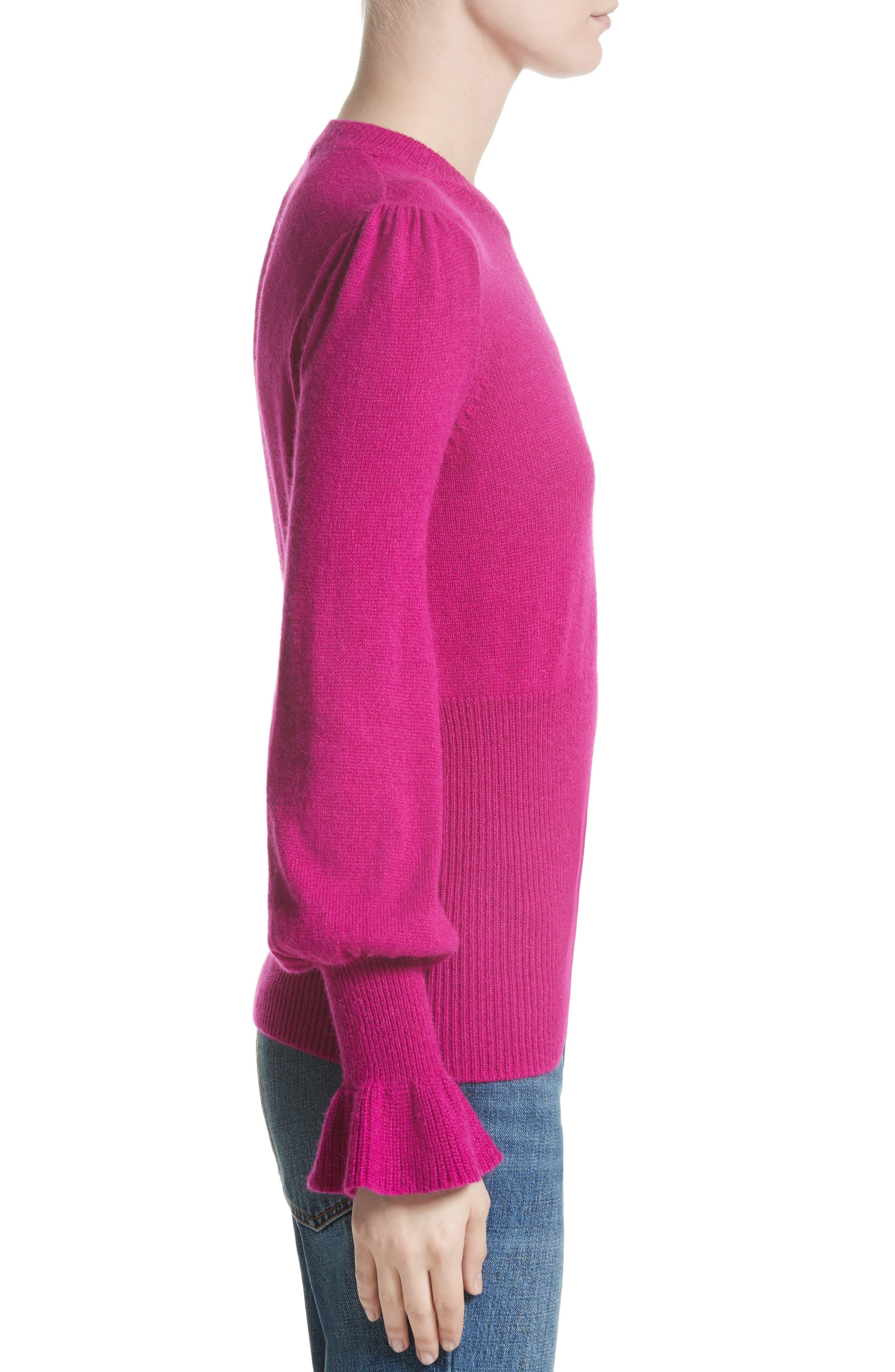 Flare Cuff Alpaca Blend Sweater,                             Alternate thumbnail 3, color,                             Magenta