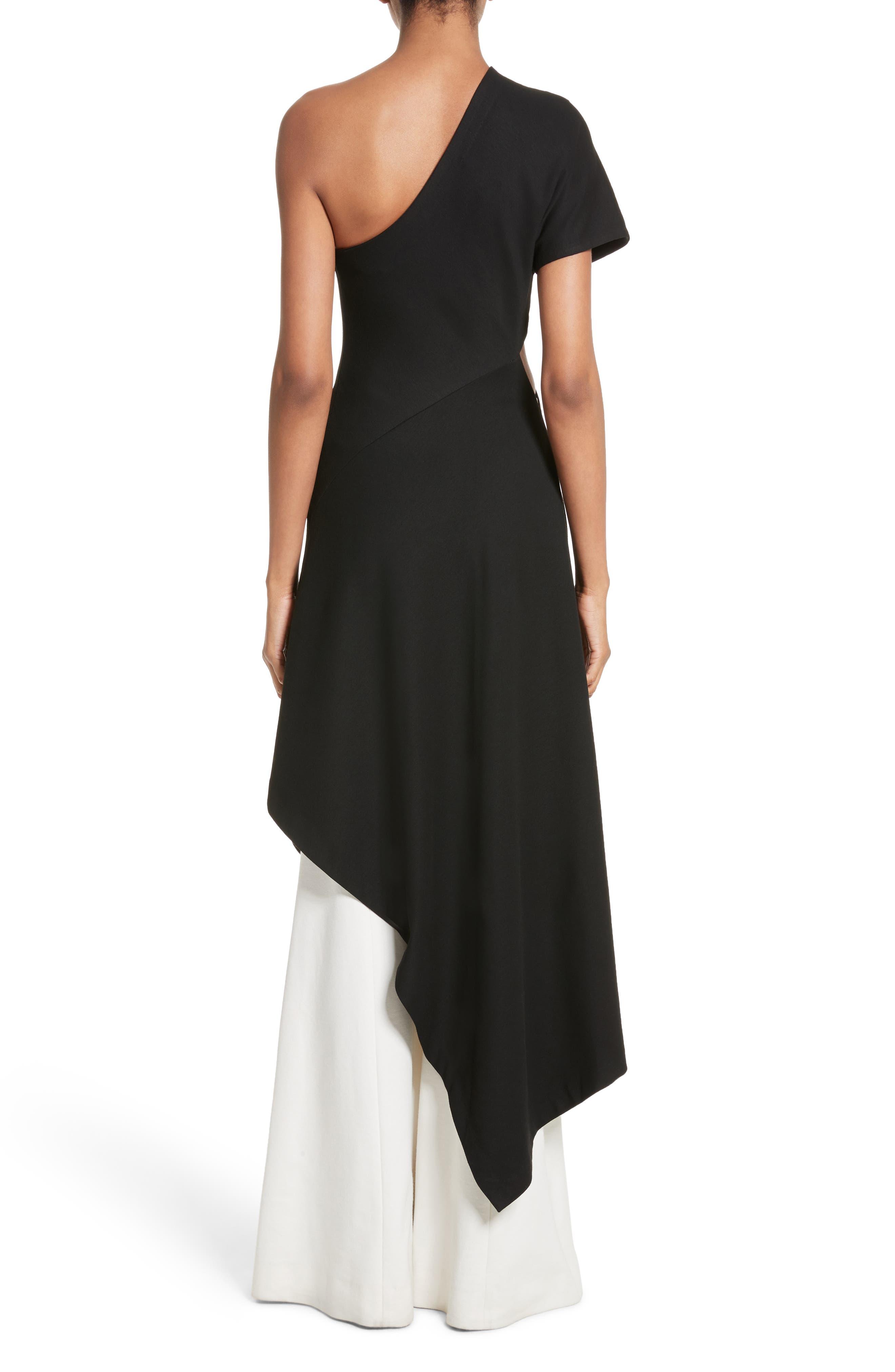 One-Shoulder Asymmetrical Jersey Dress,                             Alternate thumbnail 2, color,                             Black