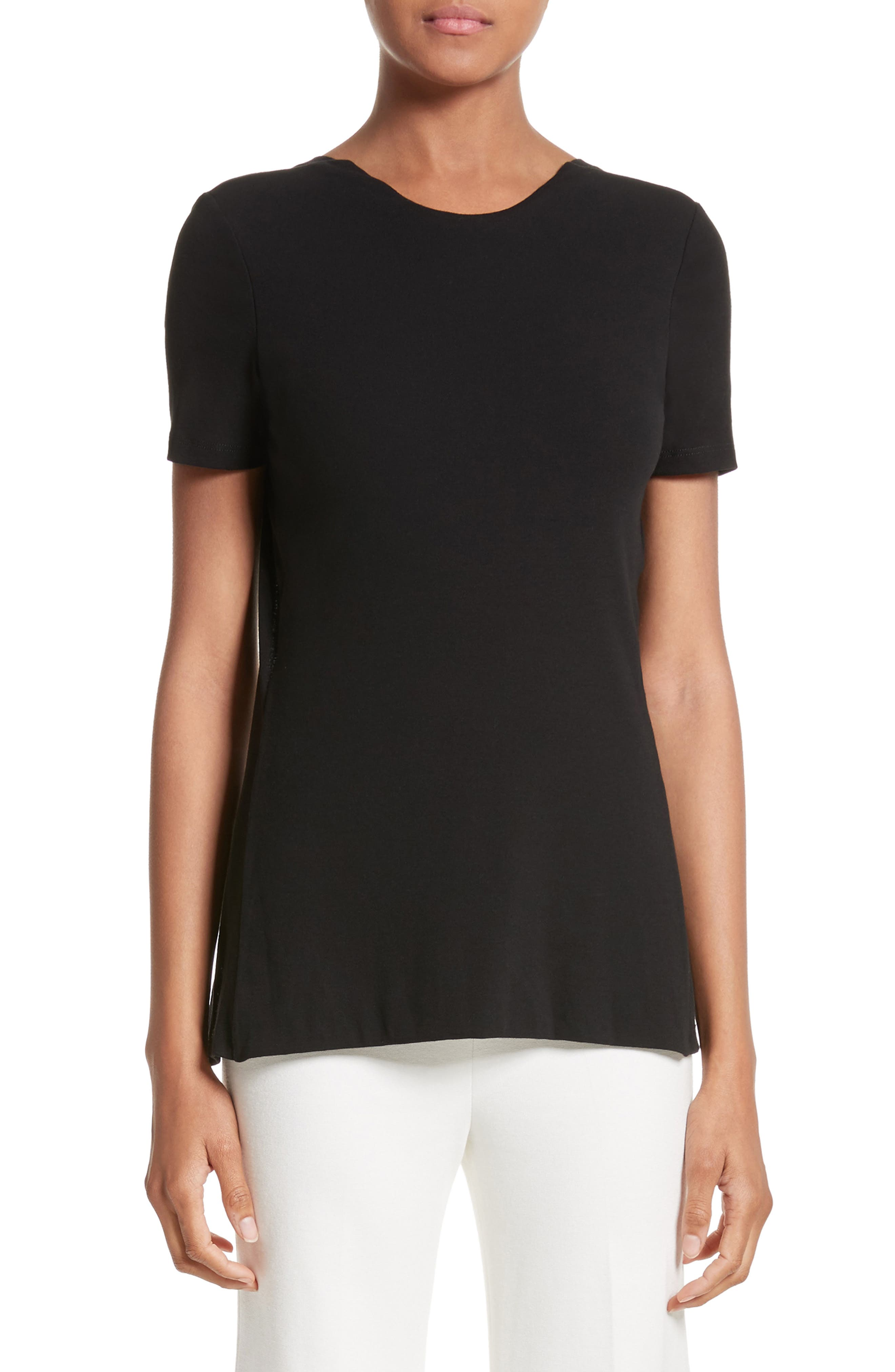 Cotton Jersey Open Back Tee,                         Main,                         color, Black