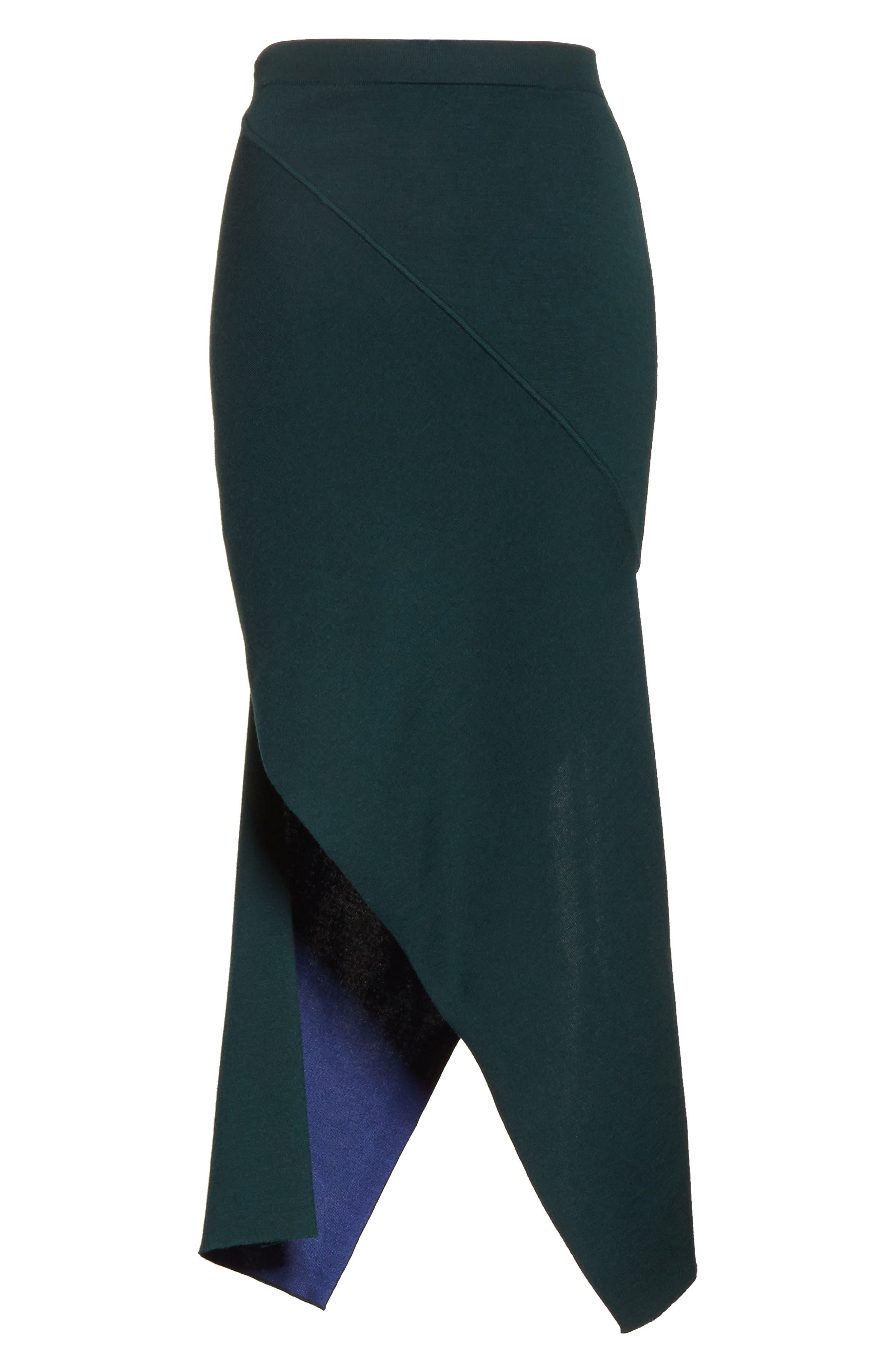 Reversible Asymmetrical Knit Midi Skirt,                             Alternate thumbnail 7, color,                             Ivy/ Lapis