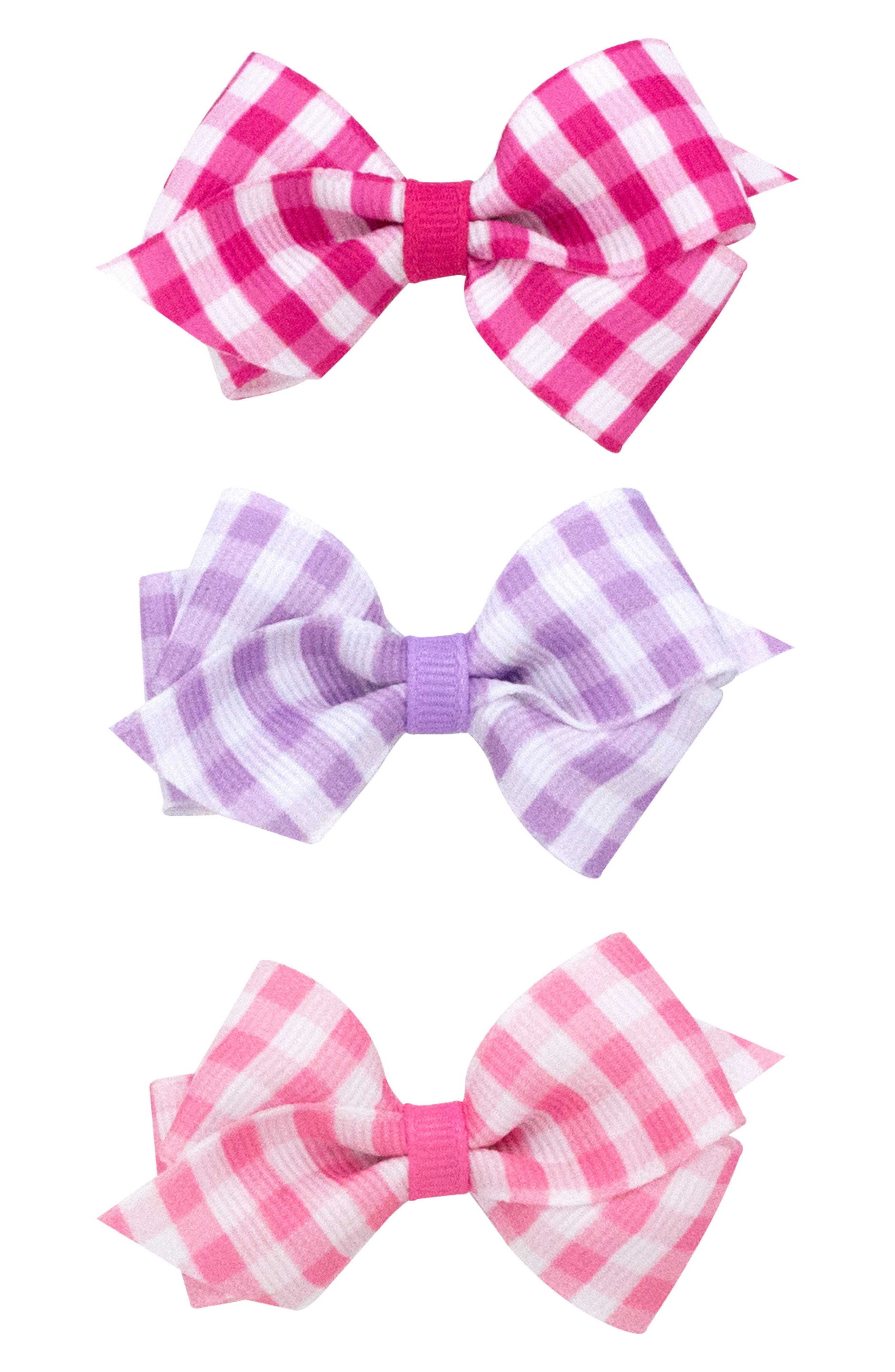 Main Image - PLH Bows & Laces 3-Pack Gingham Bows (Baby Girls)
