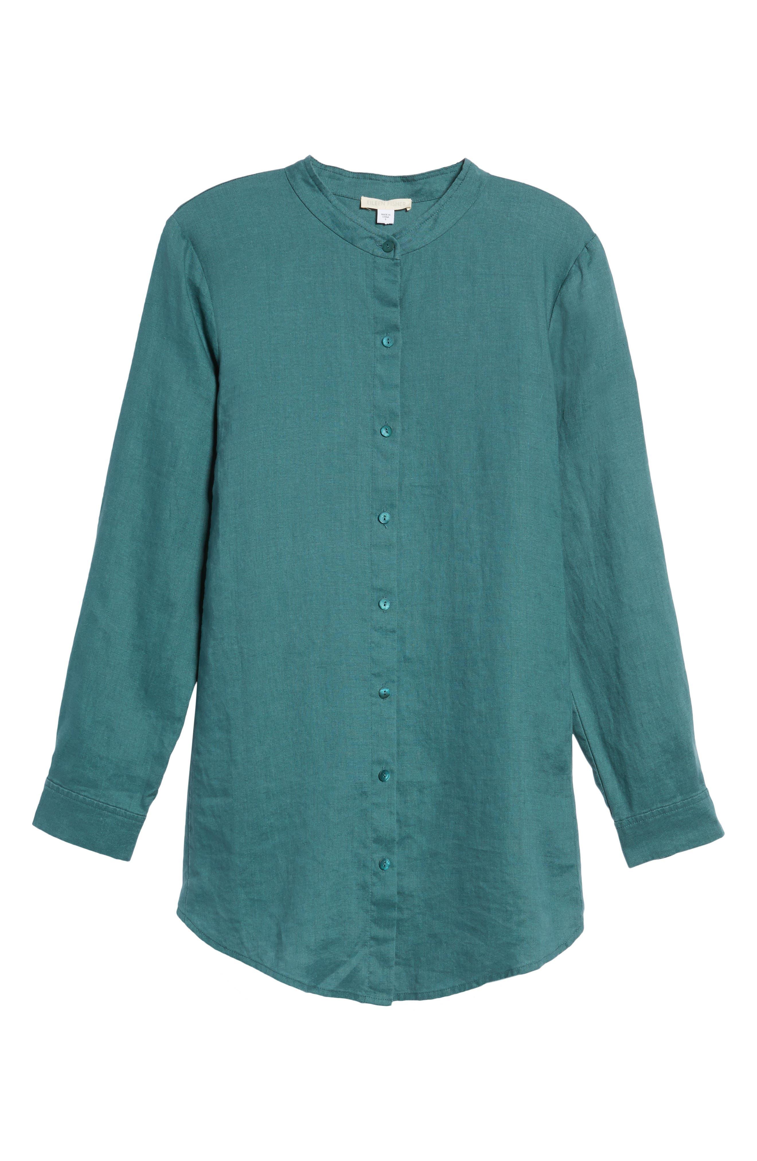 Organic Linen Tunic Shirt,                             Alternate thumbnail 6, color,                             Dragonfly