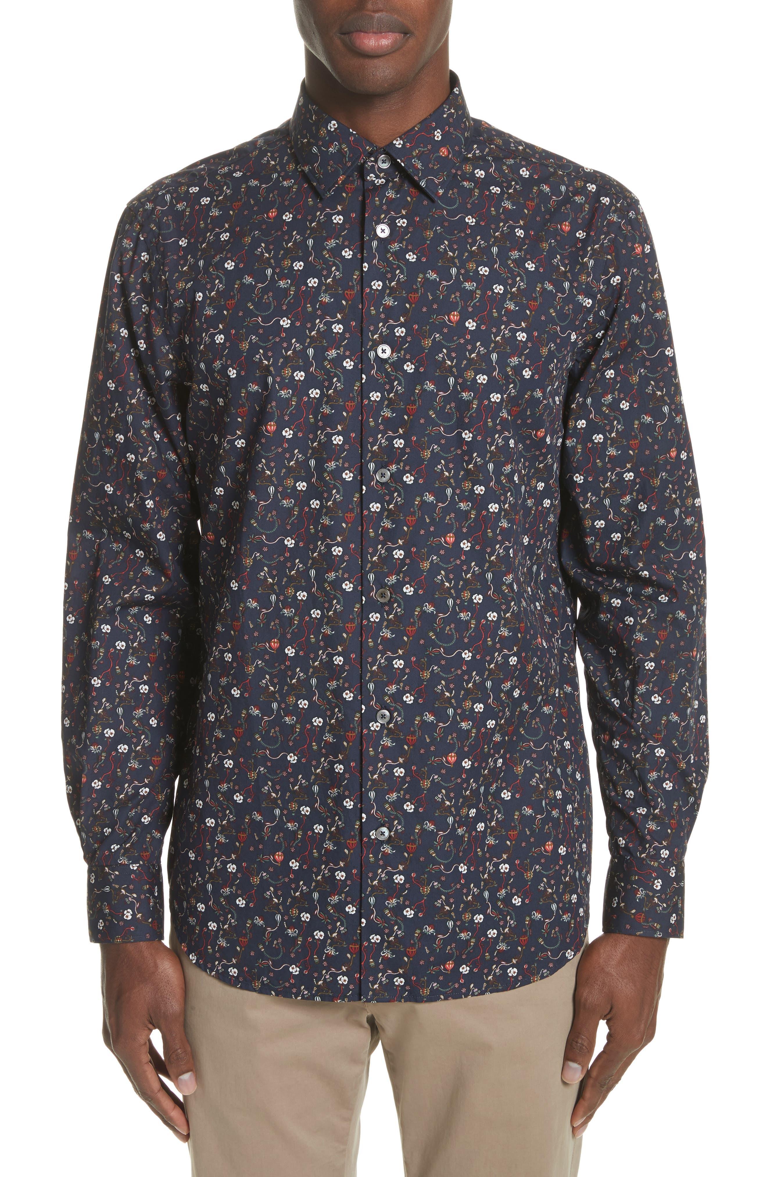 Floral Print Shirt,                         Main,                         color, Navy