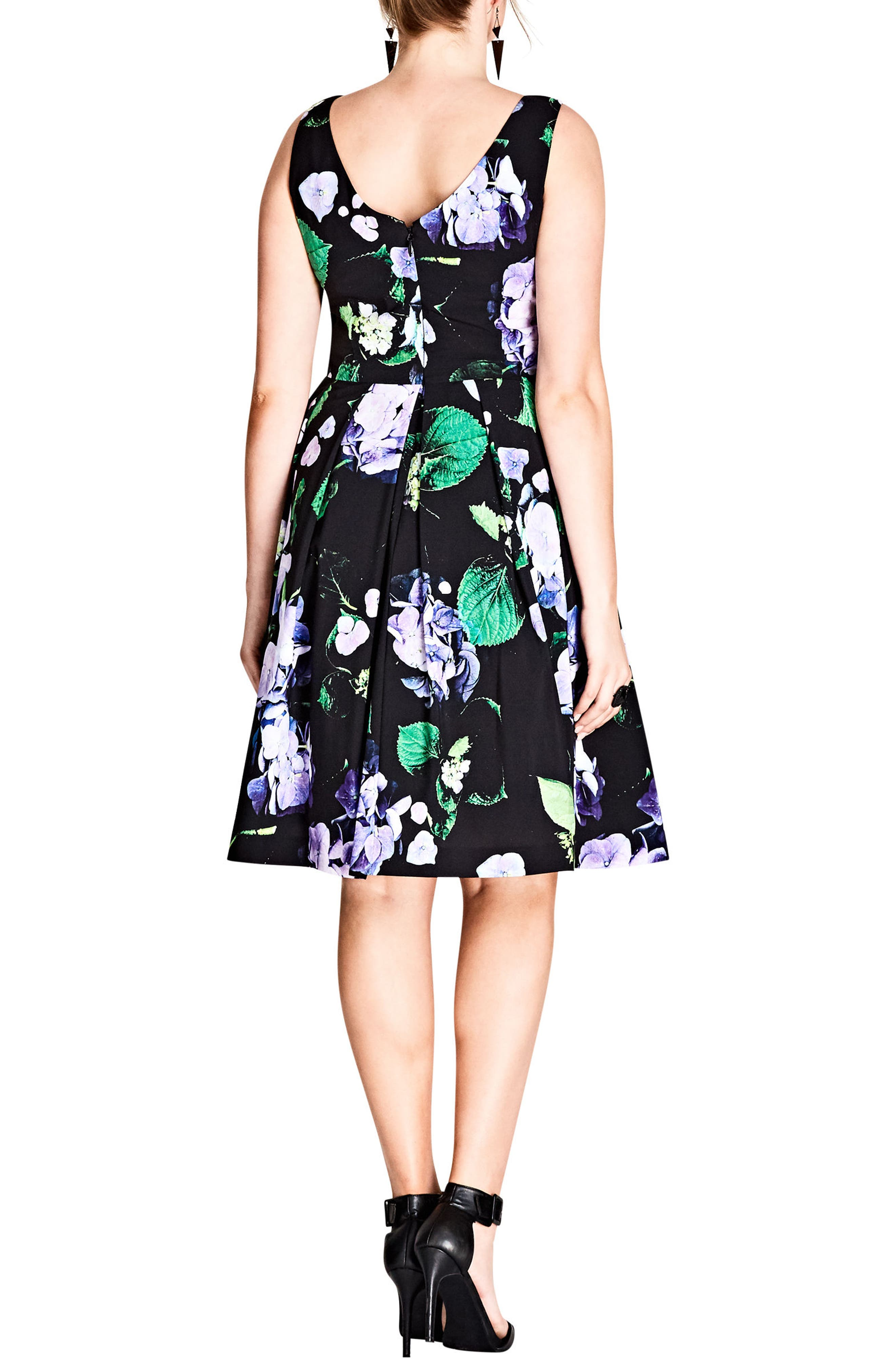 Cinematic Floral Fit & Flare Dress,                             Alternate thumbnail 2, color,                             Black