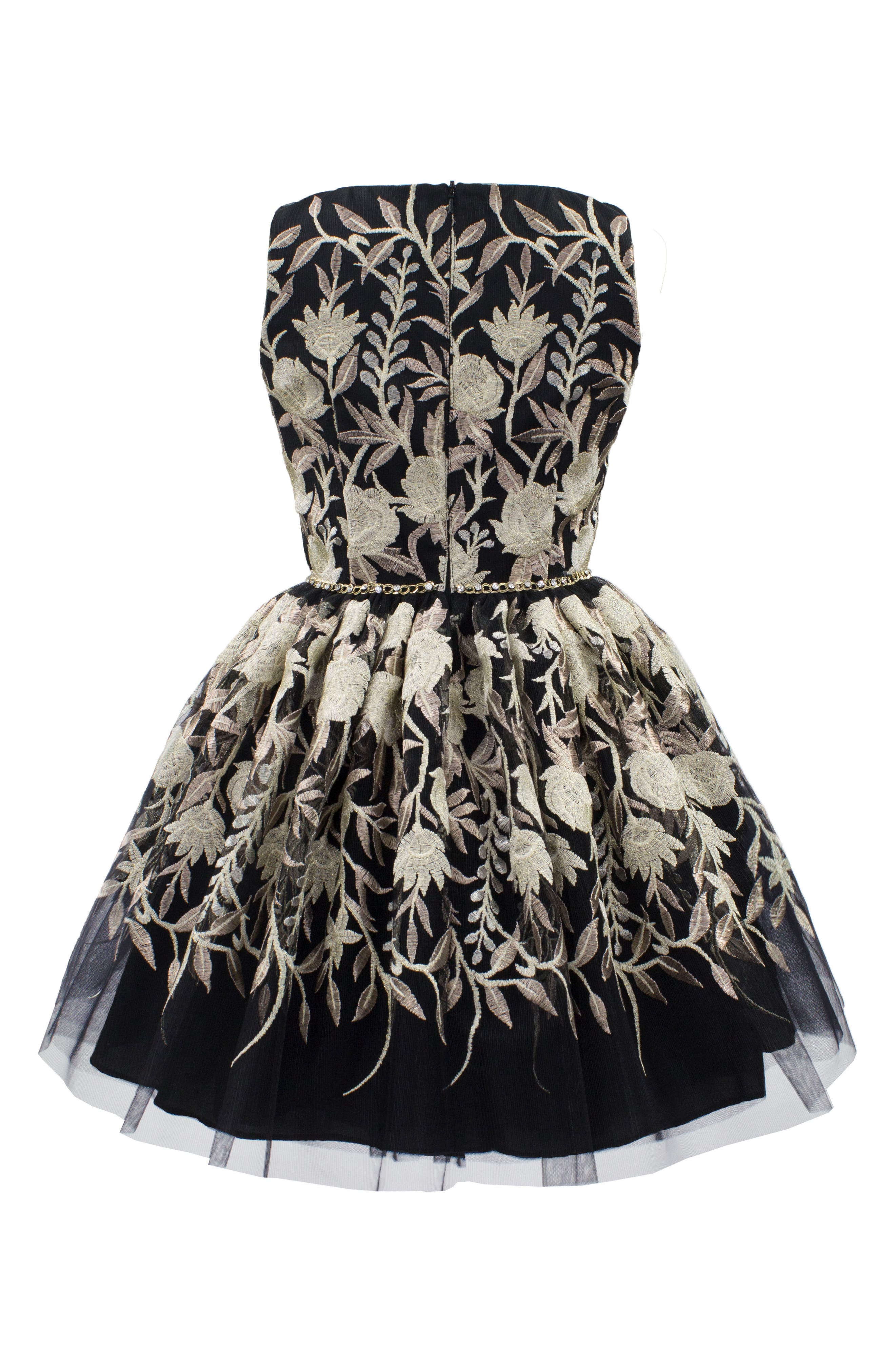 Embroidered Tulle Dress,                             Alternate thumbnail 2, color,                             Black/ Gold