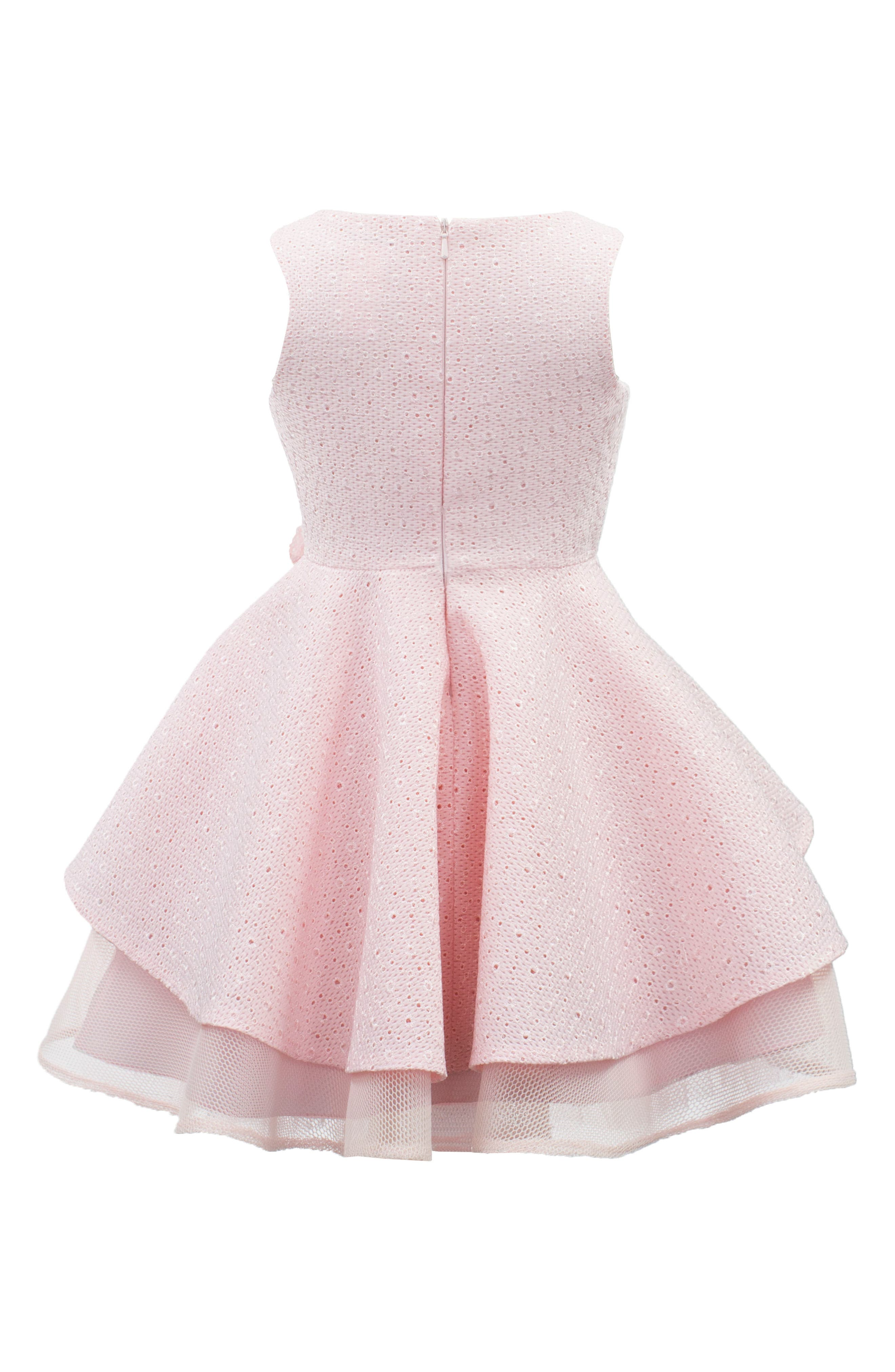 Broderie Anglaise Techno Mesh Dress,                             Alternate thumbnail 3, color,                             Pink