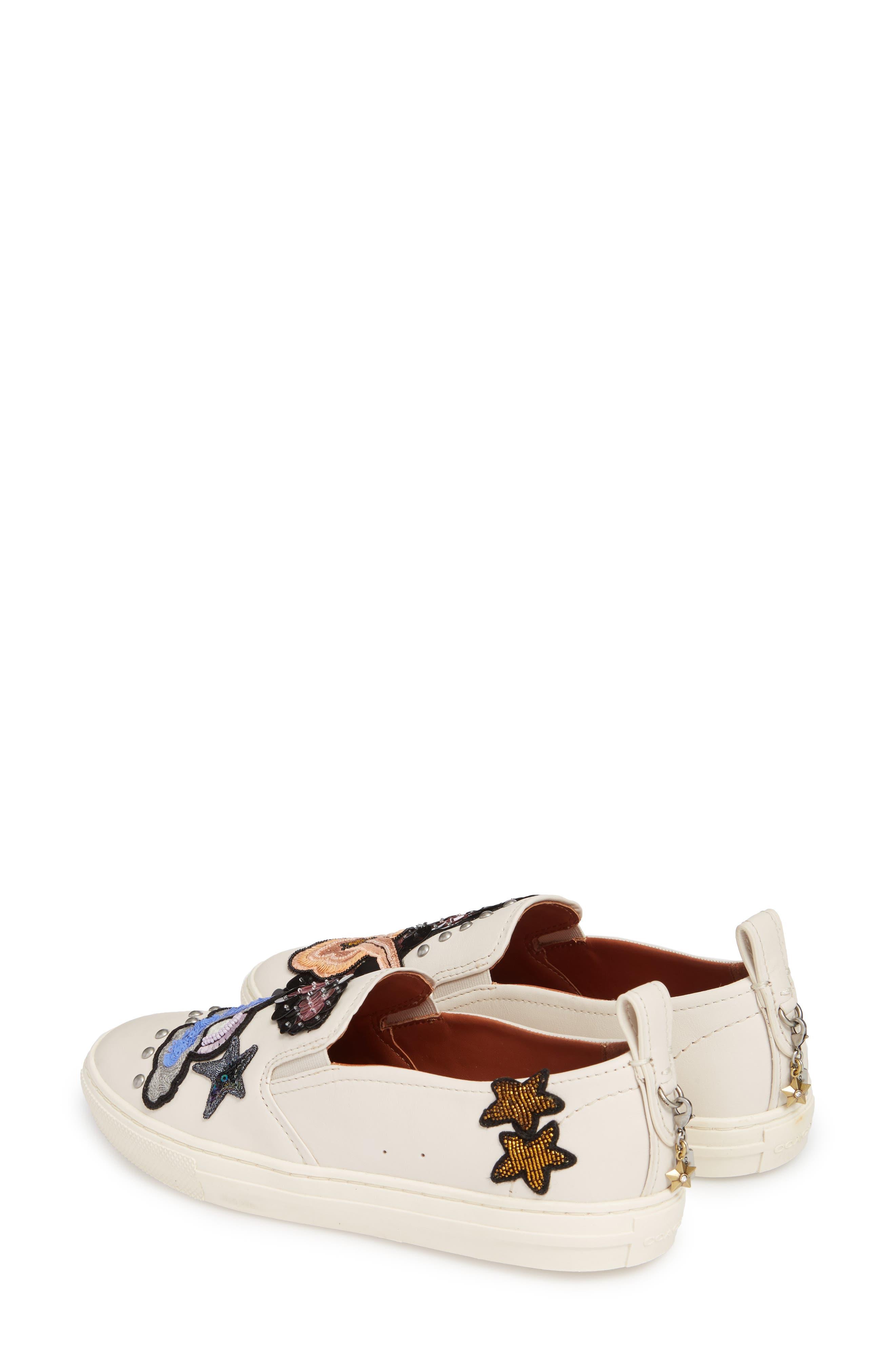 Star Patch Slip-On Sneaker,                             Alternate thumbnail 2, color,                             Chalk Leather