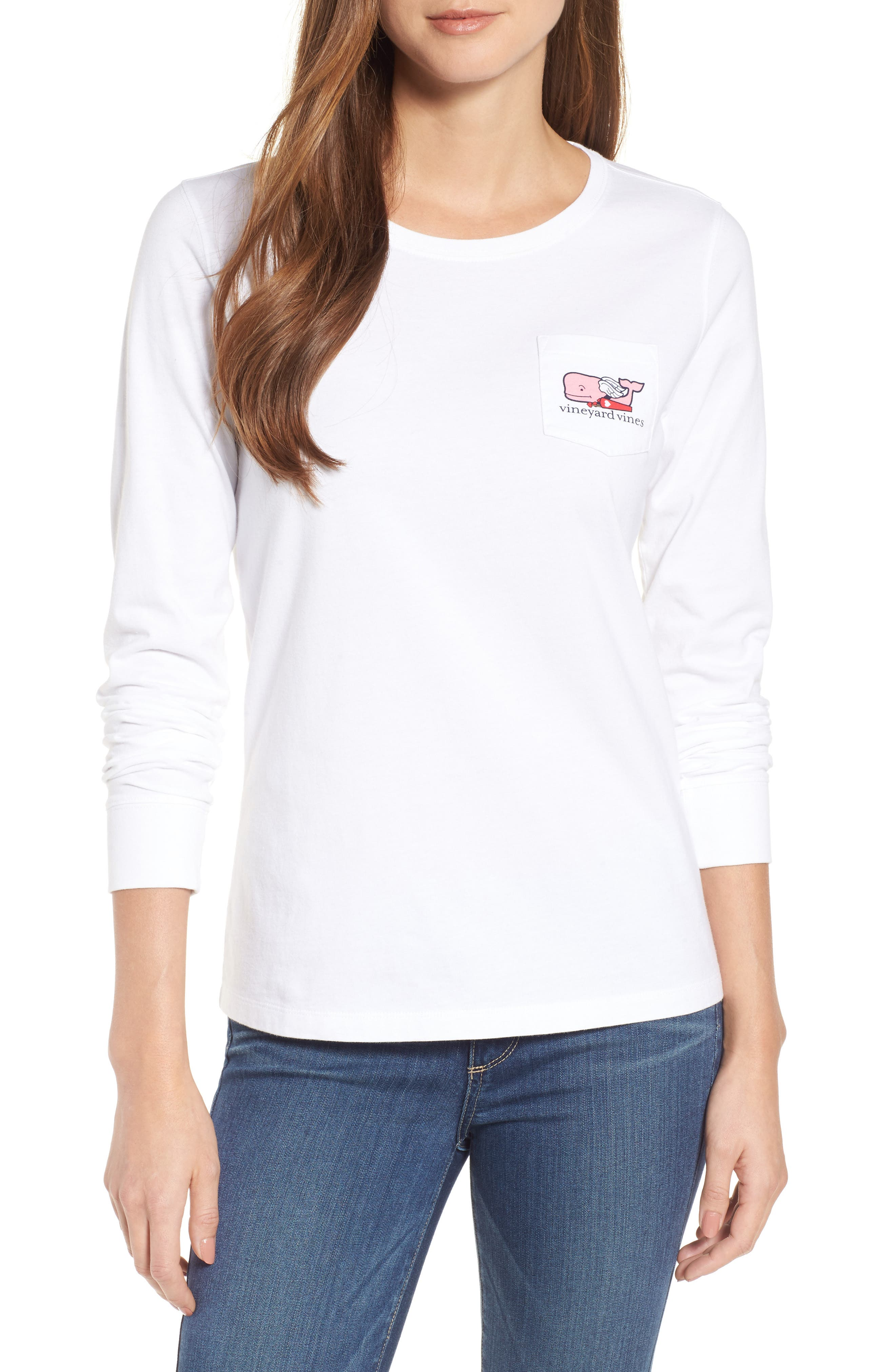 Cupid Whale Pocket Tee,                         Main,                         color, White Cap