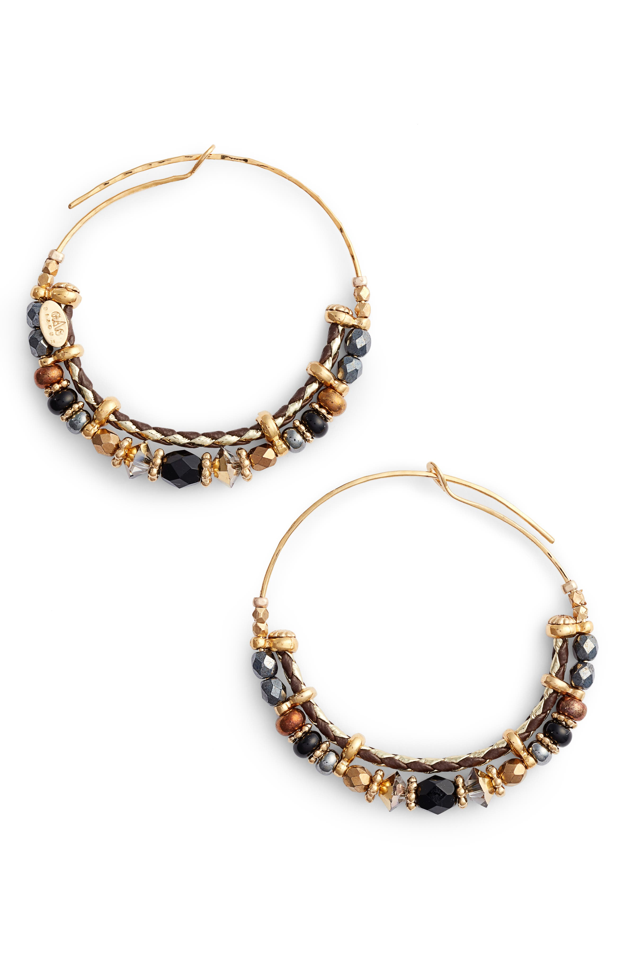Comedia Small Hoop Earrings,                             Main thumbnail 1, color,                             Black/ Gold