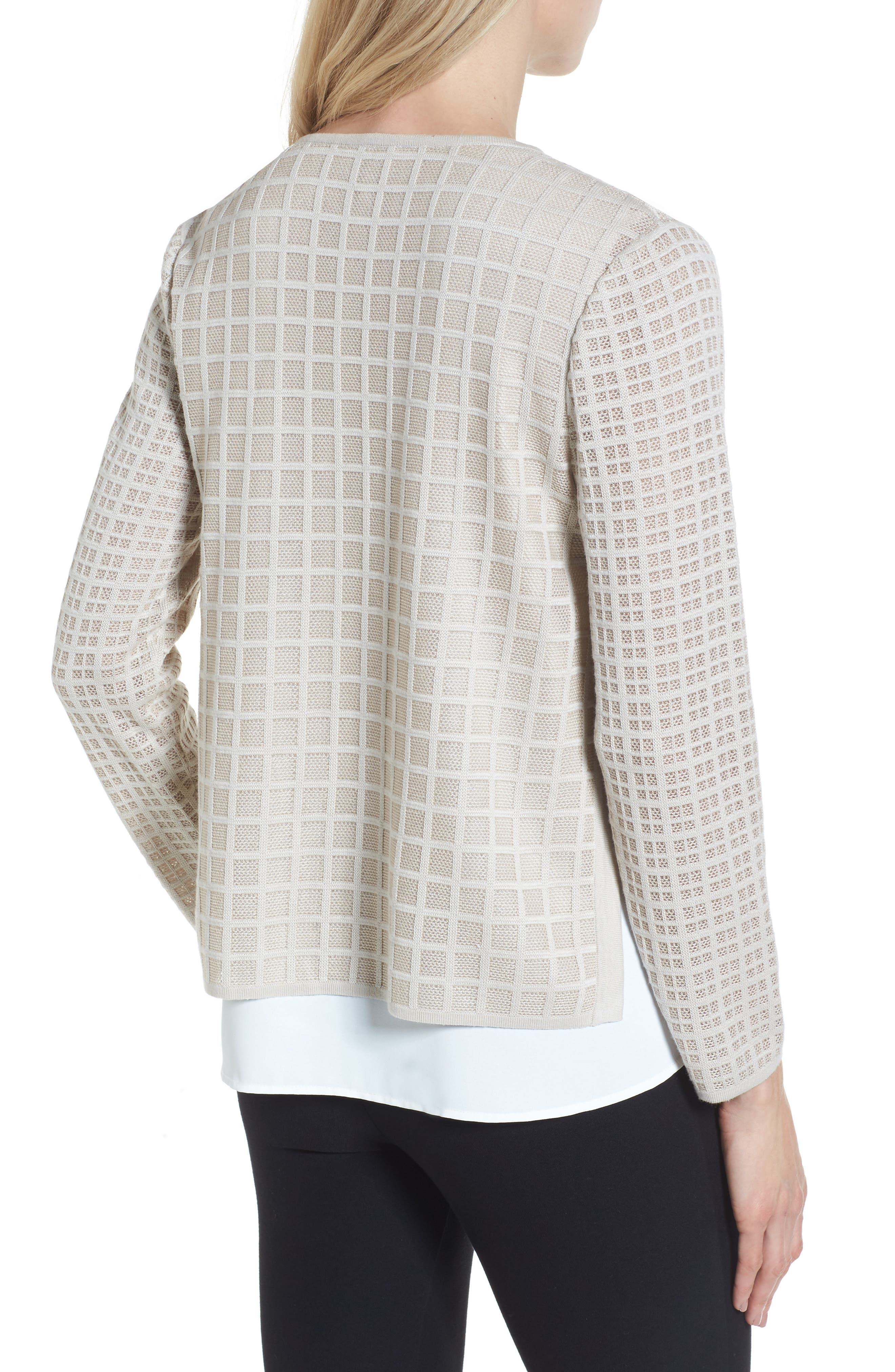 Alternate Image 2  - Ming Wang V-Neck Windowpane Sweater