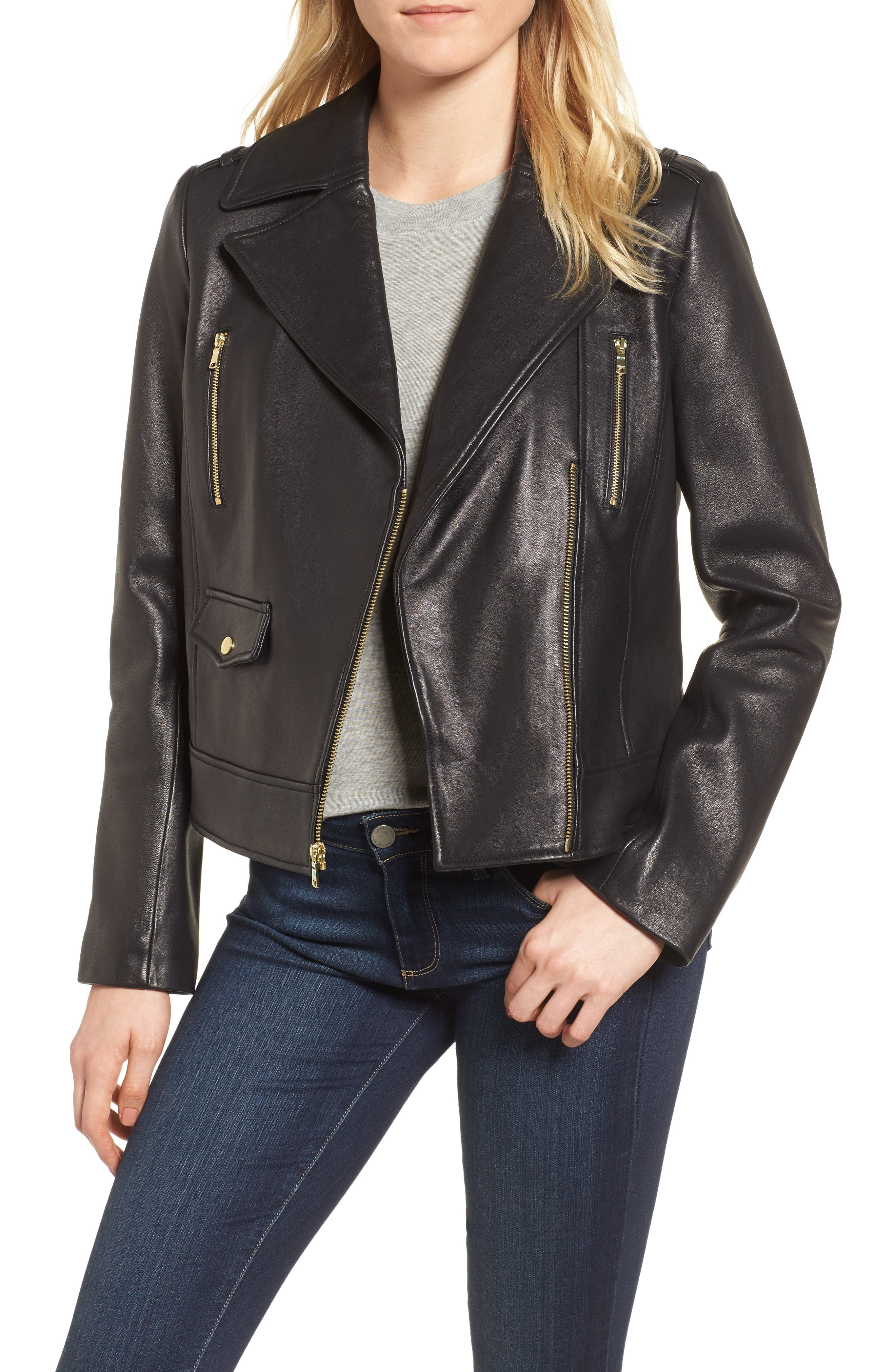 Alternate Image 1 Selected - Cole Haan Signature Leather Moto Jacket