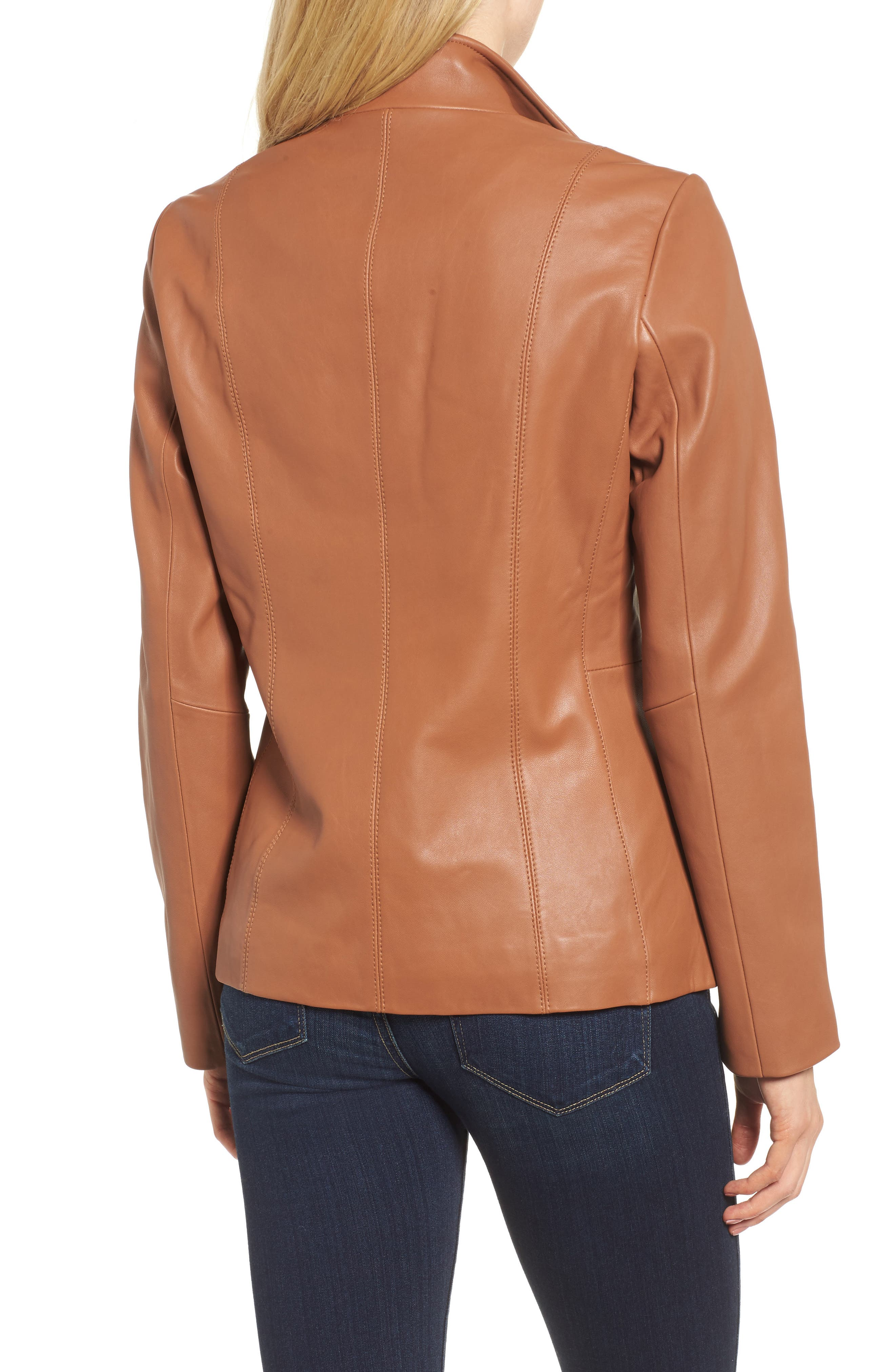 Leather Jacket,                             Alternate thumbnail 2, color,                             Cognac