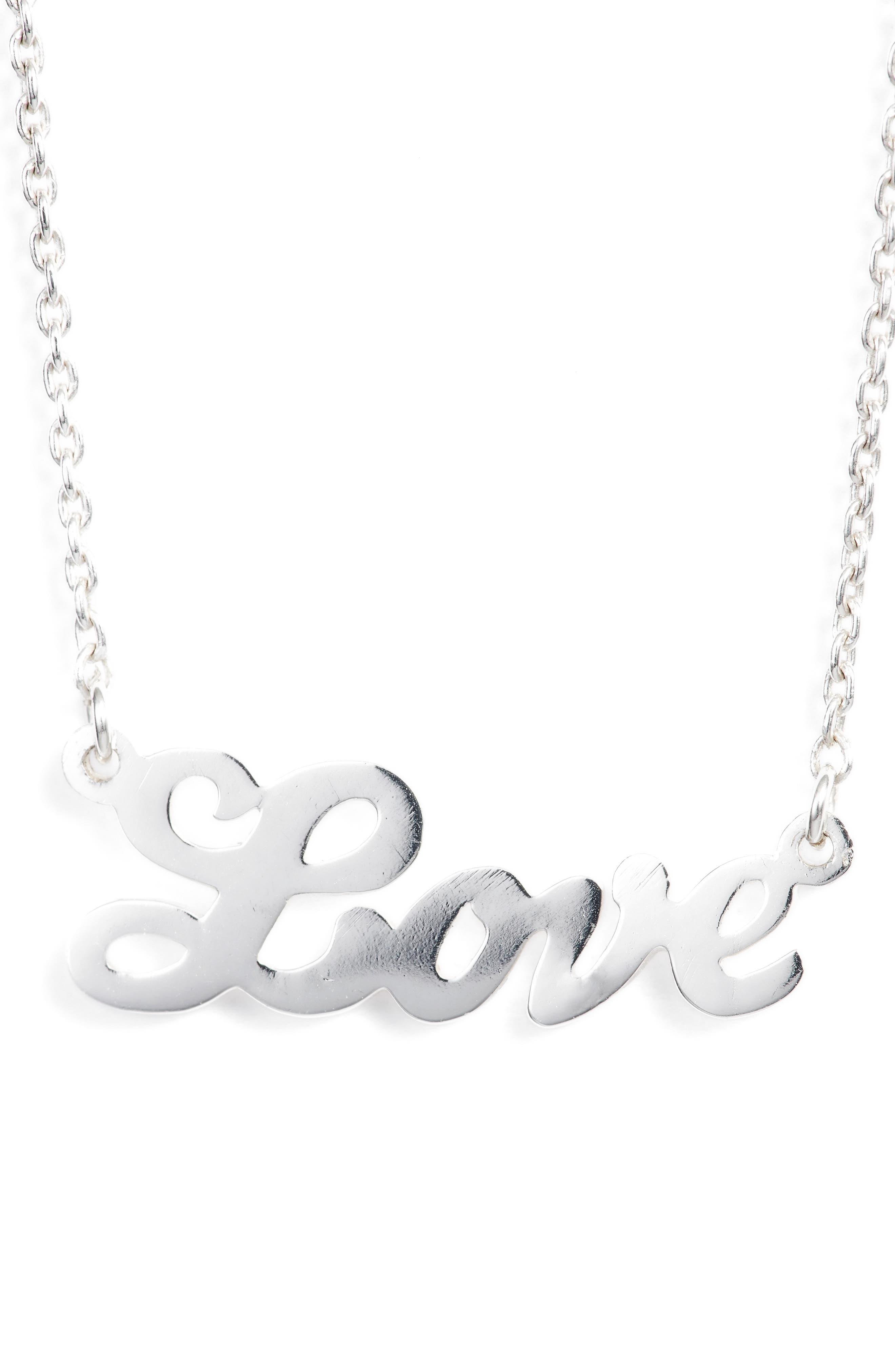 Love Pendant Necklace,                             Main thumbnail 1, color,                             Silver