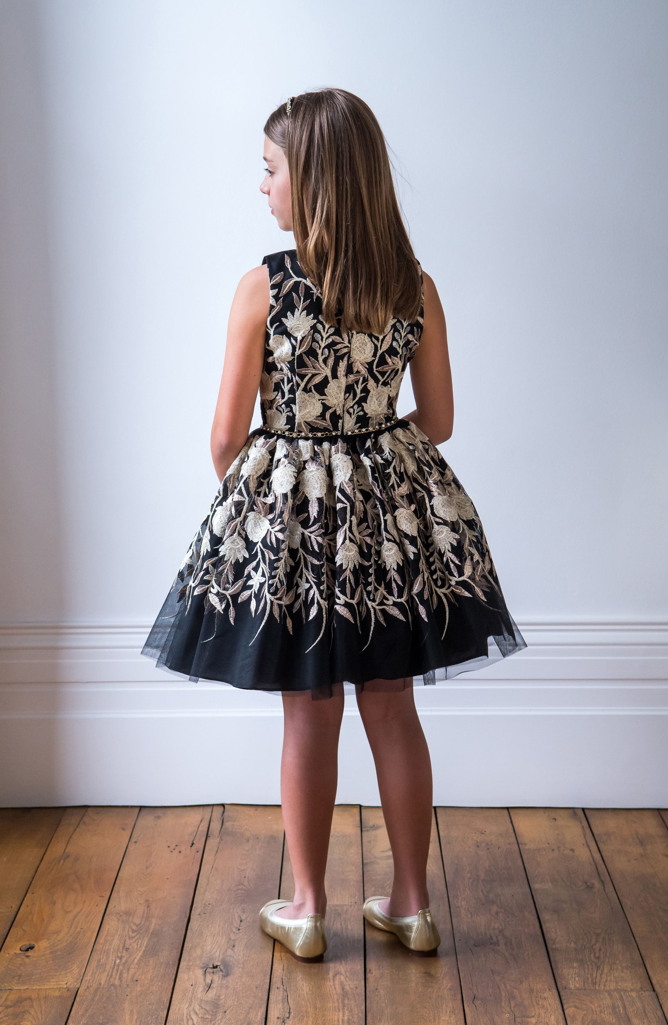 Embroidered Tulle Dress,                             Alternate thumbnail 4, color,                             Black/ Gold