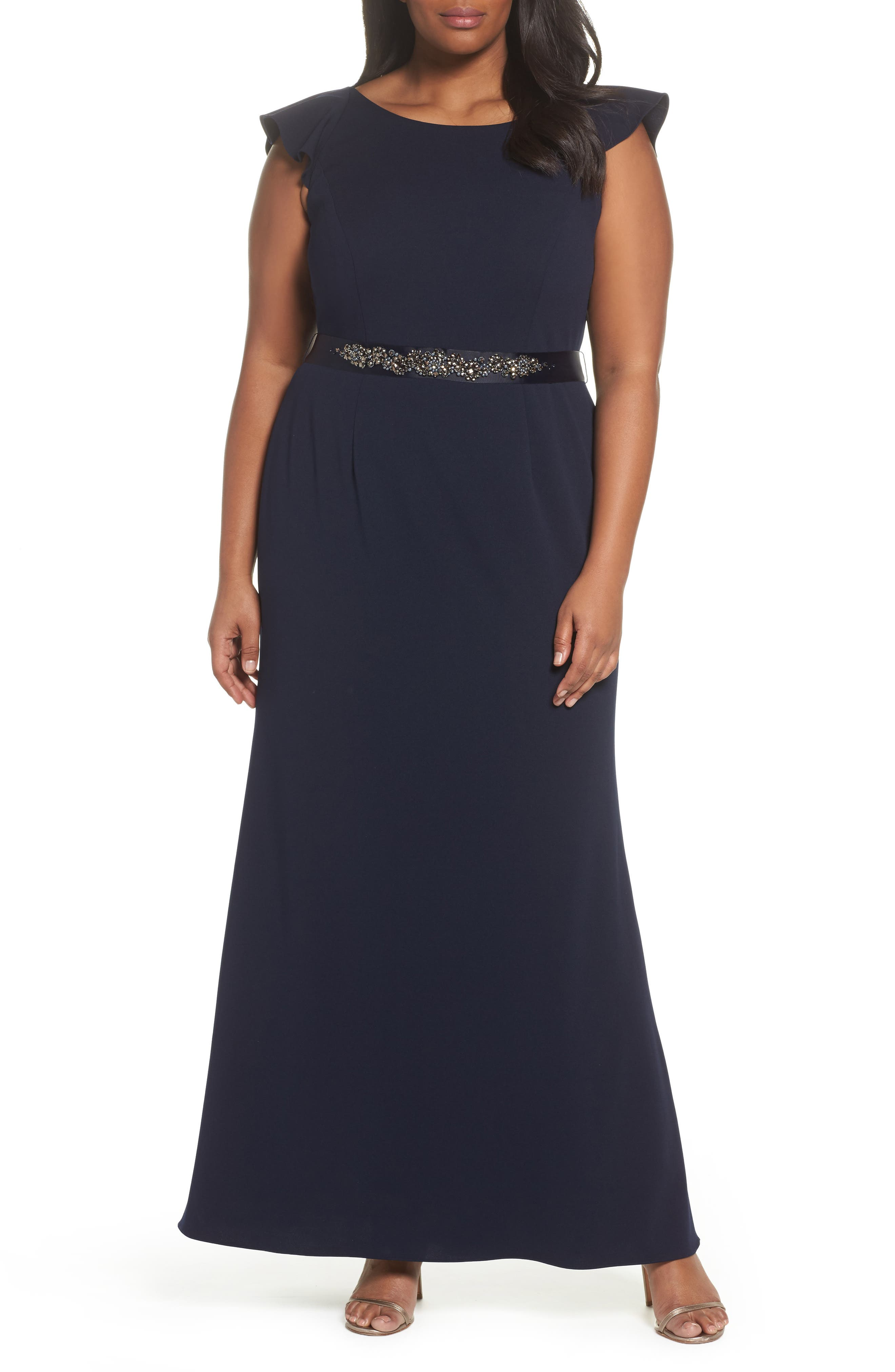Main Image - Adrianna Papell Beaded Waist Ruffle Gown (Plus Size)