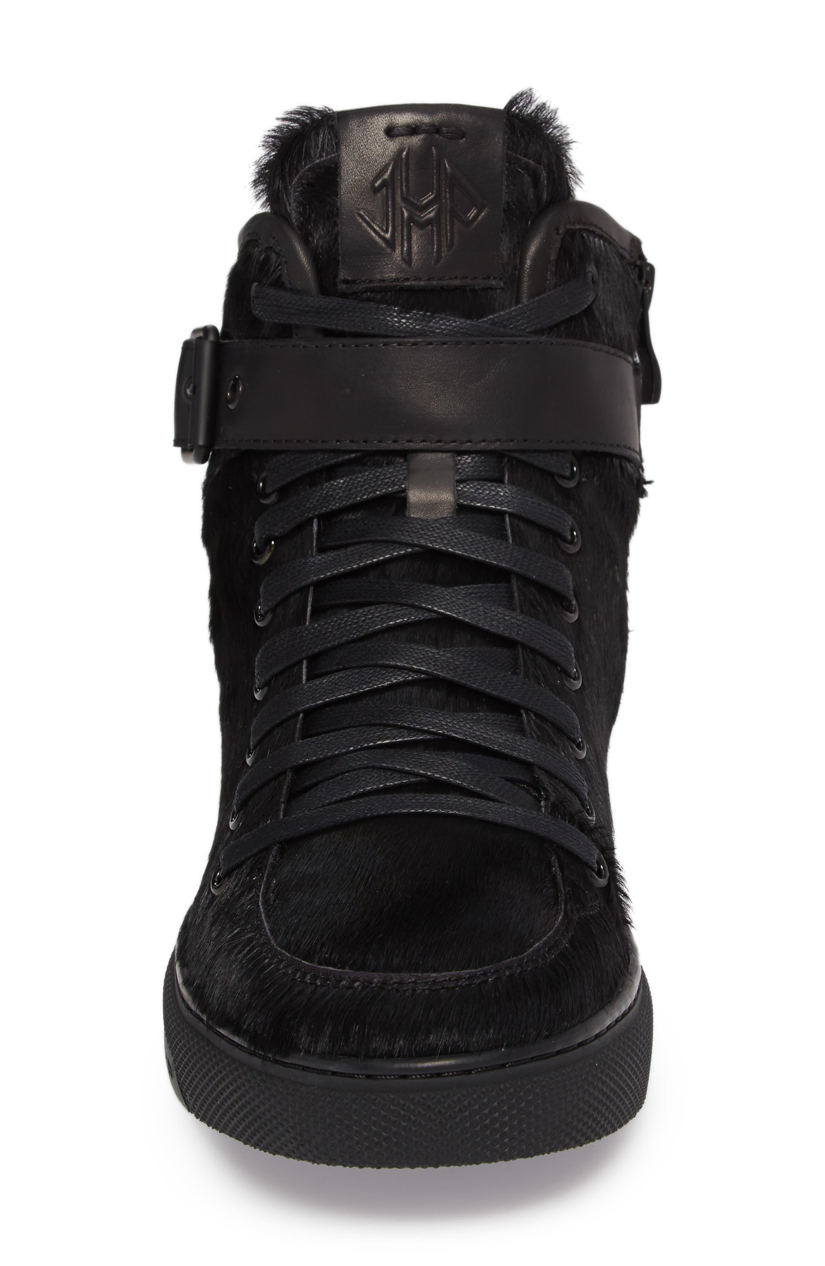 Sullivan Genuine Calf Hair High Top Sneaker,                             Alternate thumbnail 4, color,                             Black Fur Leather