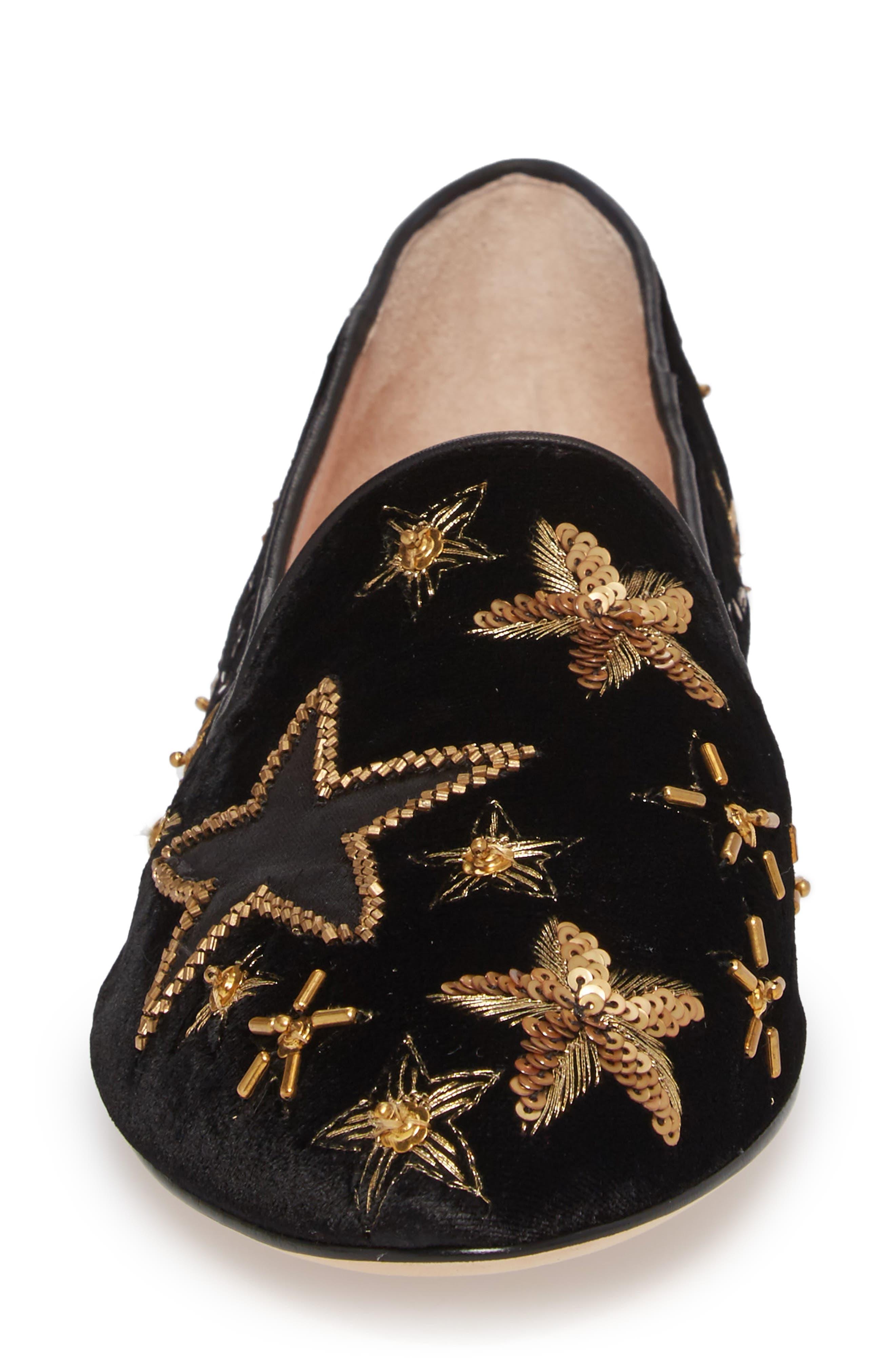 stelli embellished loafer,                             Alternate thumbnail 4, color,                             Black Velvet