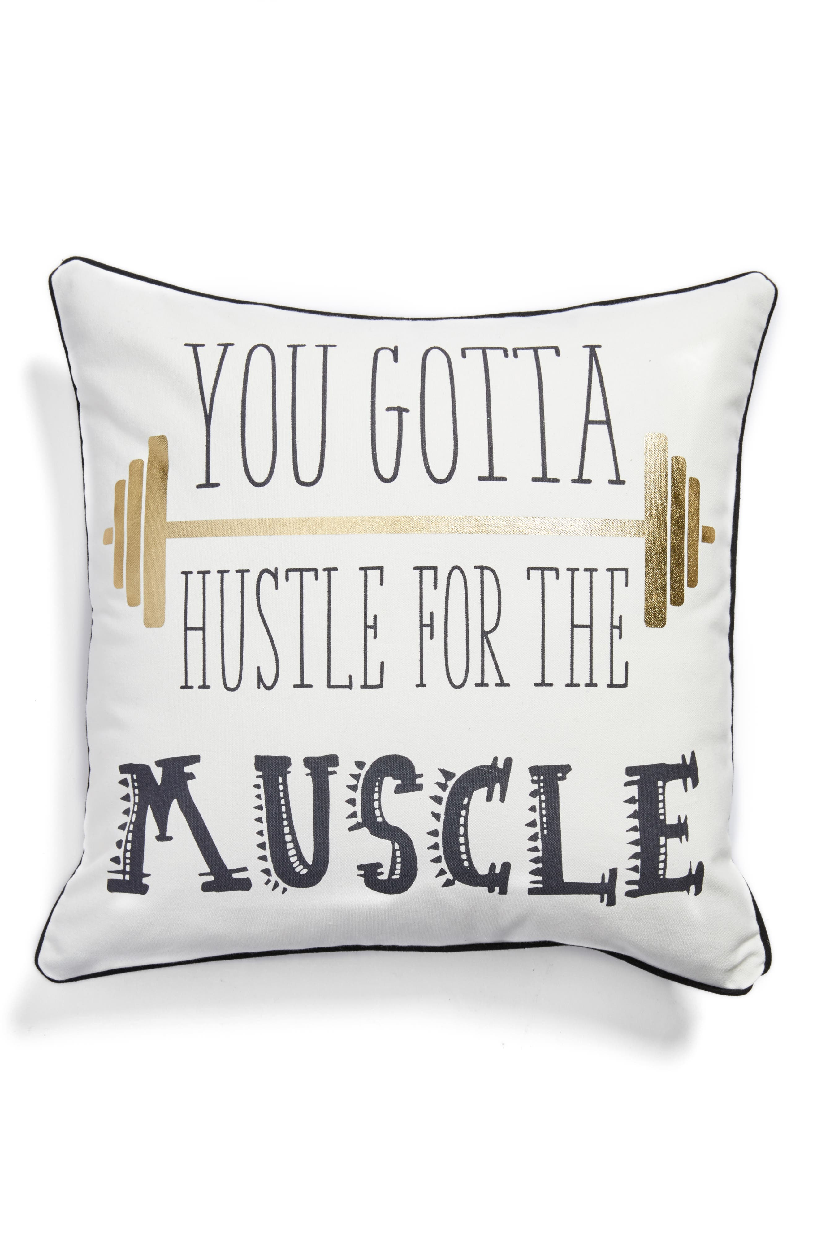 Hustle for the Muscle Pillow,                             Main thumbnail 1, color,                             White