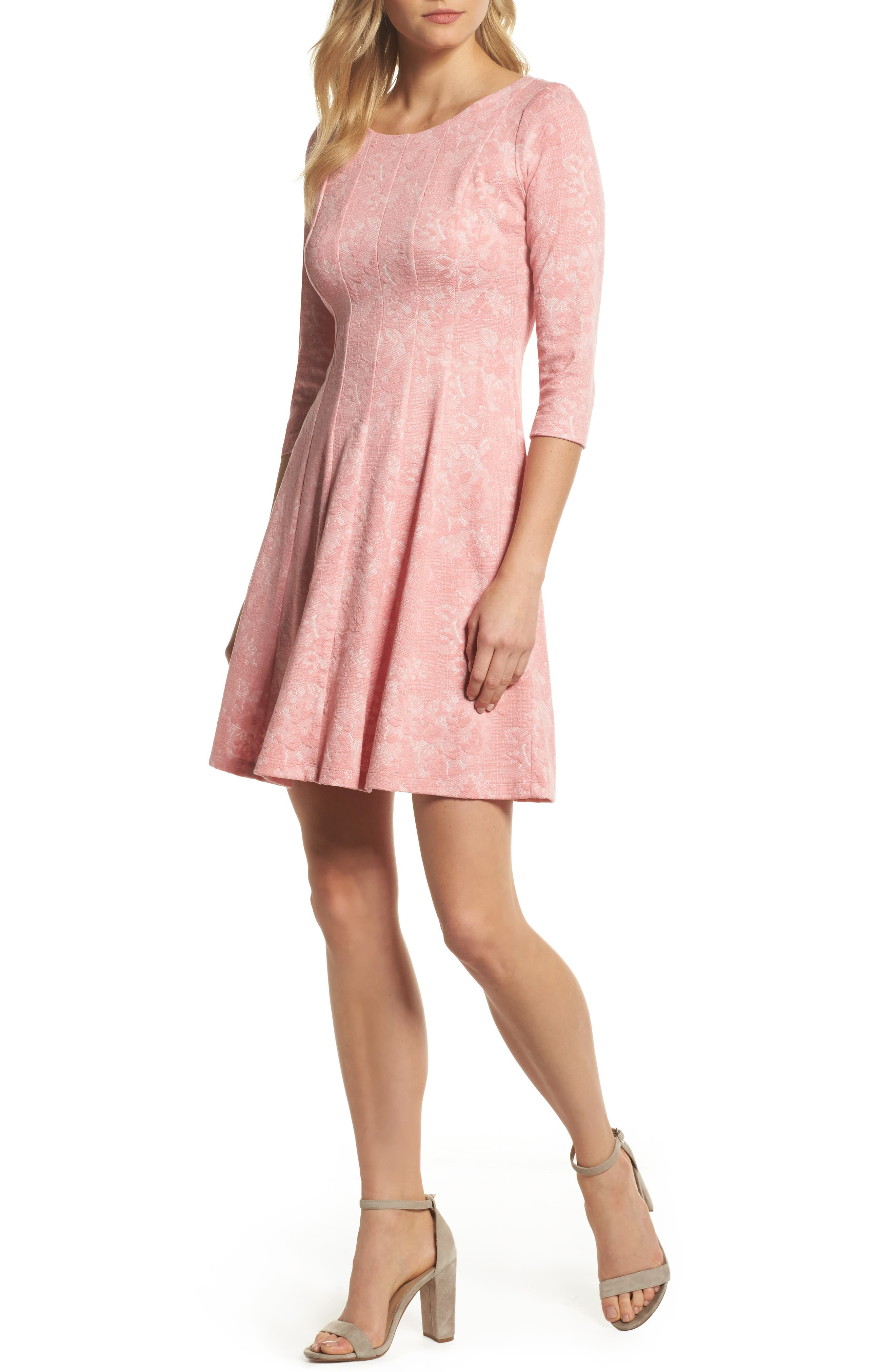 Jacquard Knit Fit & Flare Dress,                             Main thumbnail 1, color,                             Coral