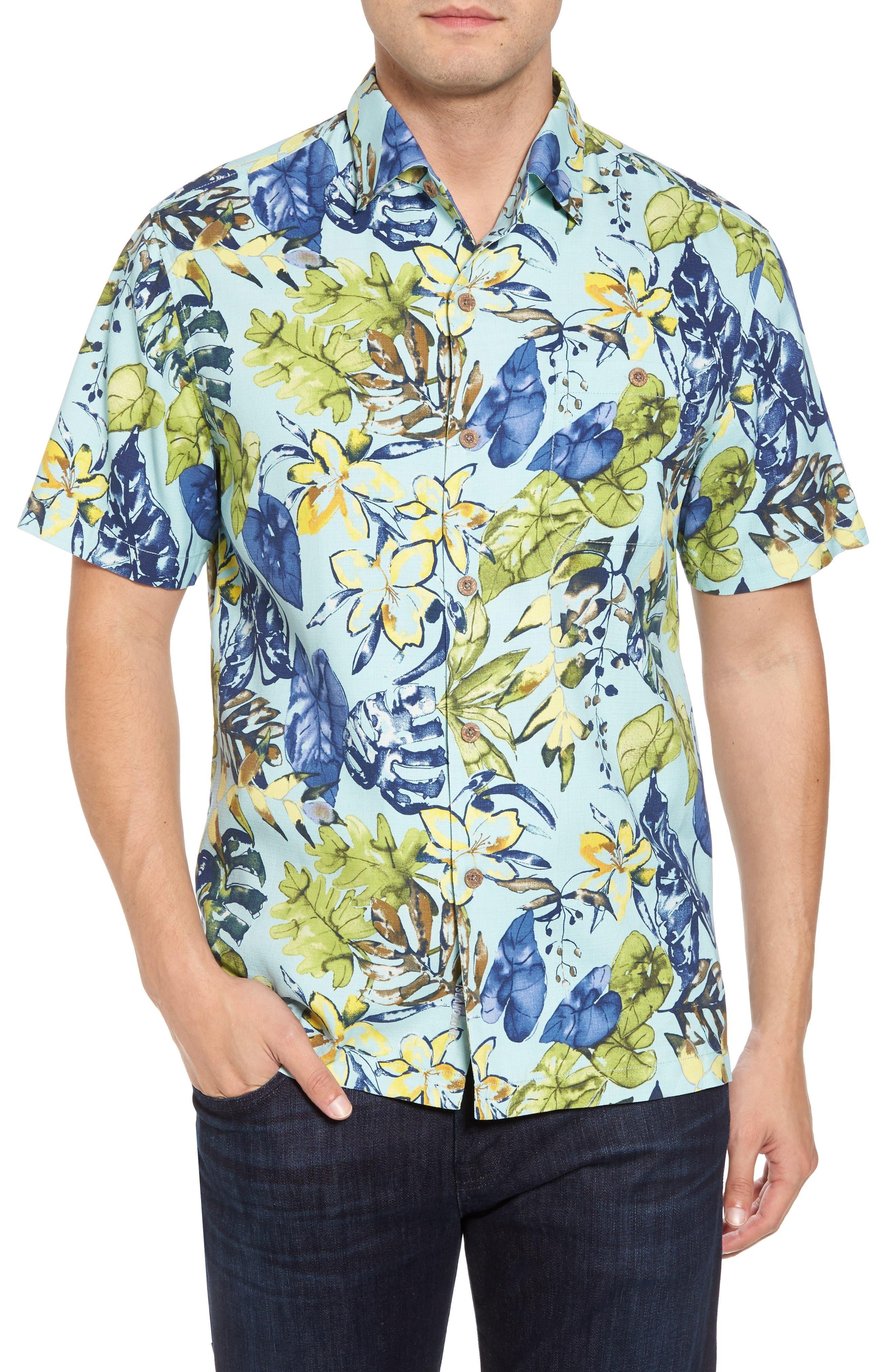 Riviera Garden Standard Fit Silk Blend Camp Shirt,                         Main,                         color, Aqua Mist