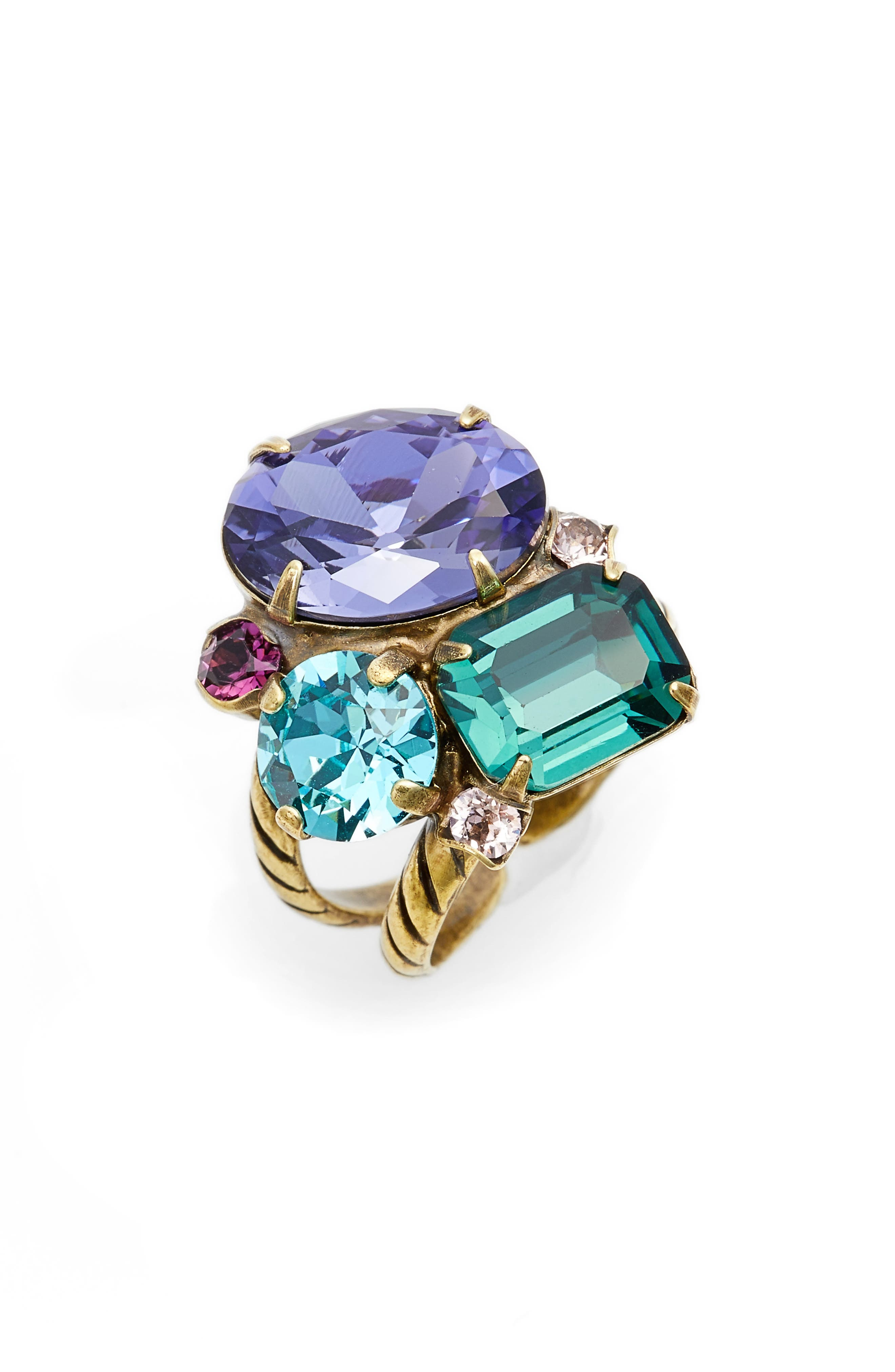Crystal Cluster Cocktail Ring,                         Main,                         color, Multi