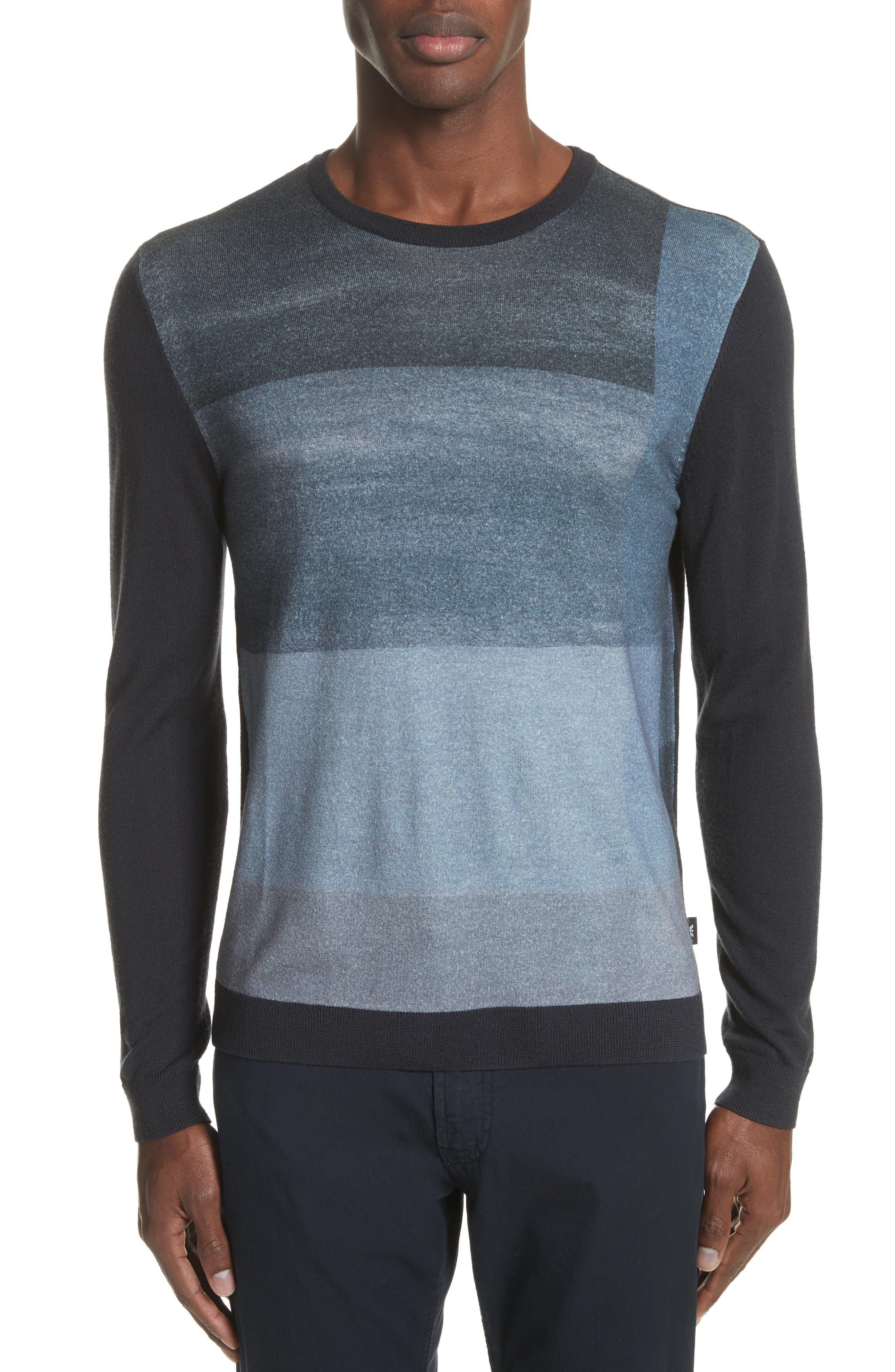 Crewneck Colorblock Slim Fit Sweater,                             Main thumbnail 1, color,                             Blue Multi
