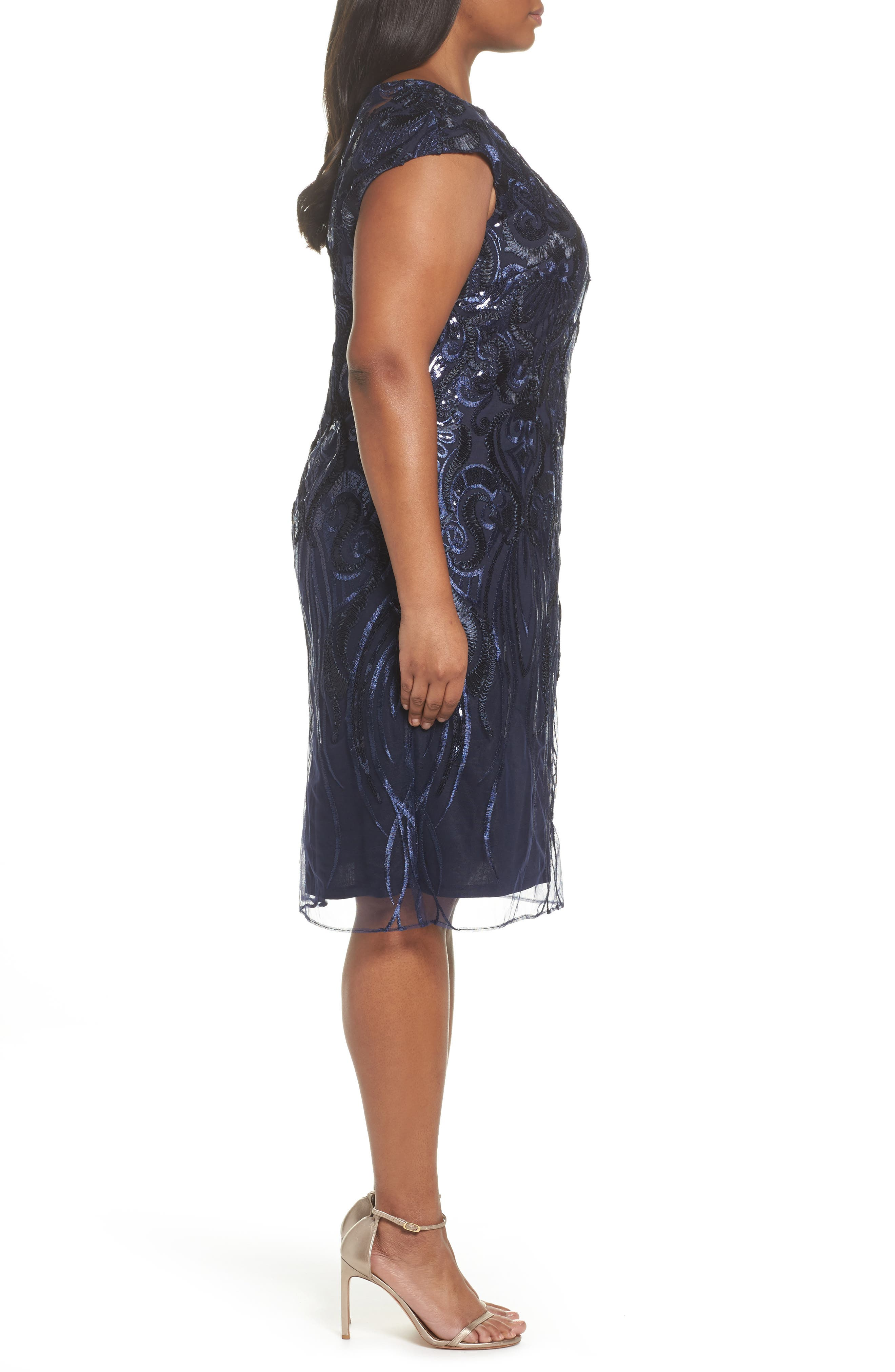 Sequin Embroidered Sheath Dress,                             Alternate thumbnail 3, color,                             Navy