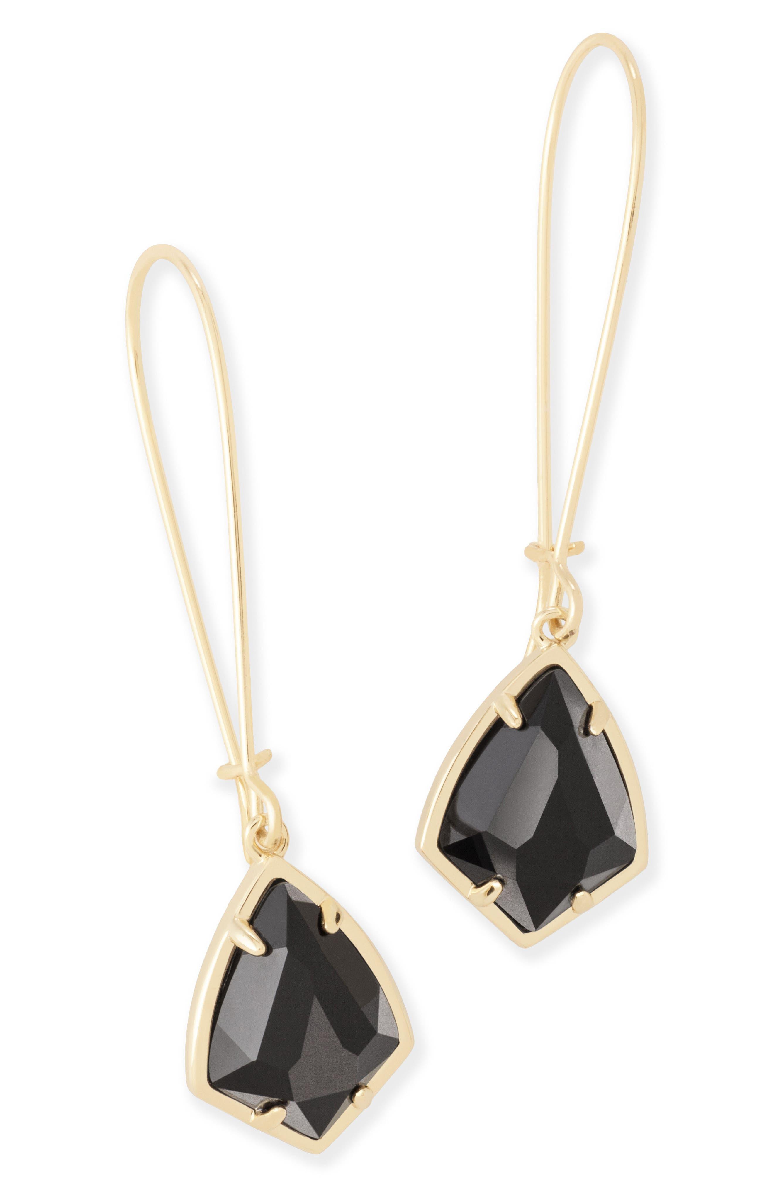'Carrine' Semiprecious Stone Drop Earrings,                             Main thumbnail 1, color,                             Black/ Gold