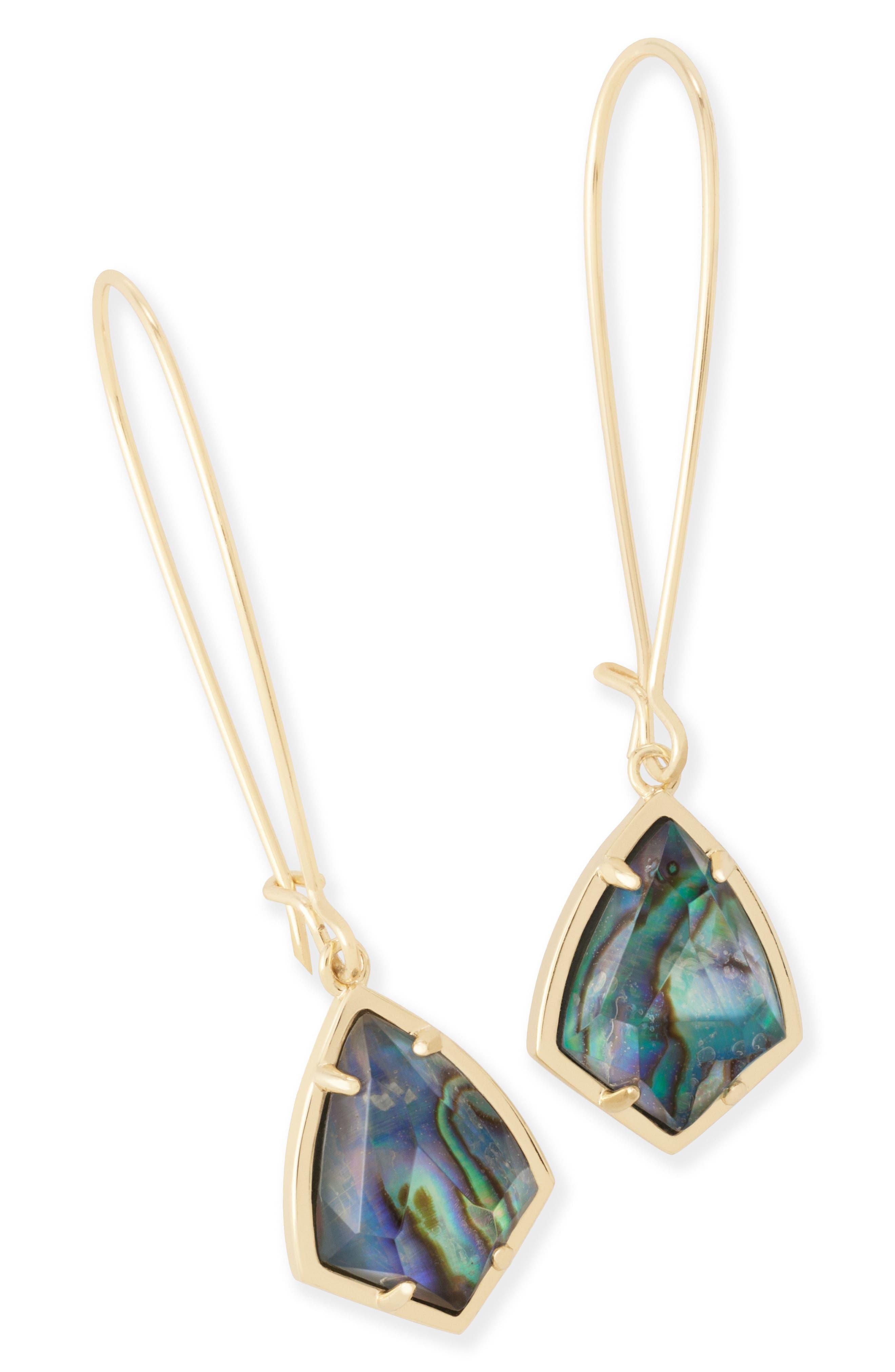 'Carrine' Semiprecious Stone Drop Earrings,                             Main thumbnail 1, color,                             Abalone/ Gold